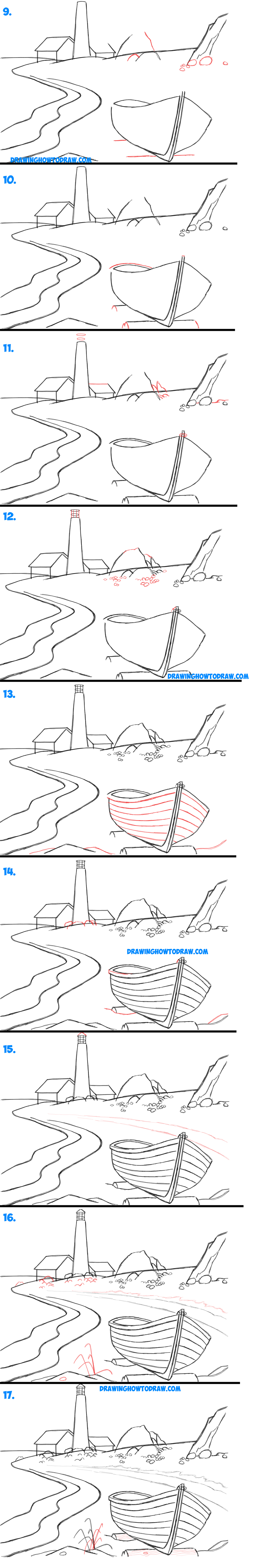 Learn How to Draw a Lighthouse by the Ocean in Easy Steps Drawing Lesson for Beginners and Kids