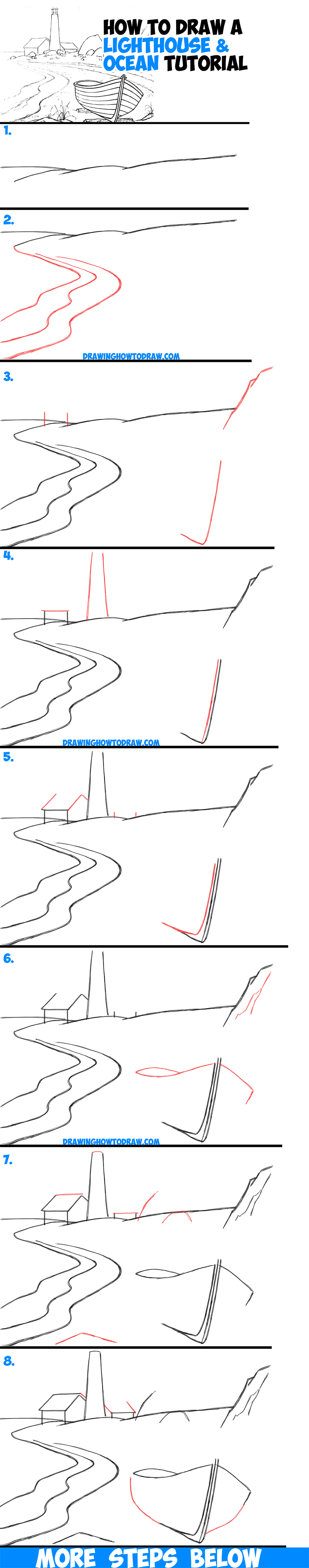 How to draw a lighthouse by the sea step by step drawing for Step by step art for beginners