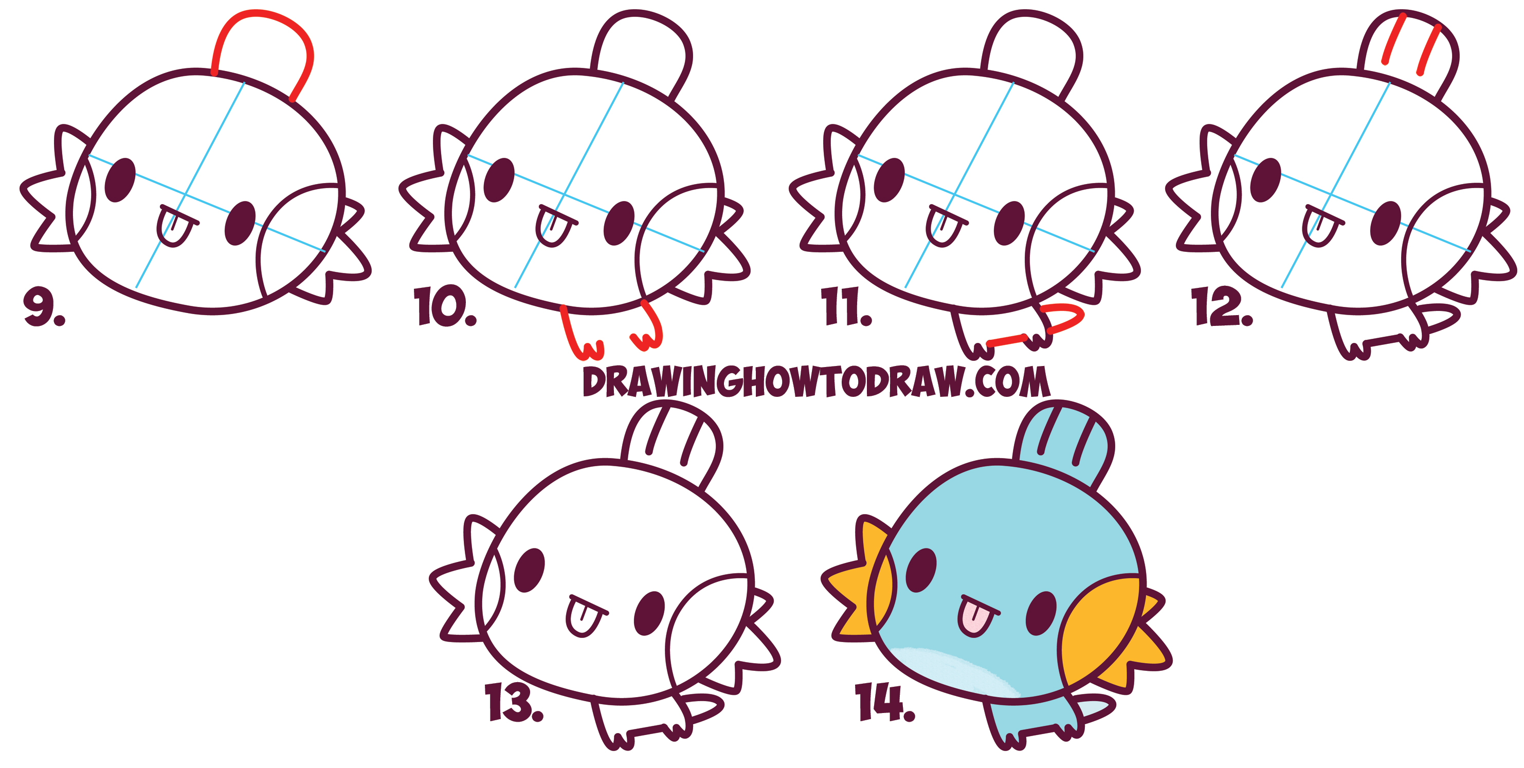 Uncategorized Pokemon That Are Easy To Draw how to draw mudkip from pokemon cute chibi kawaii easy step learn simple steps