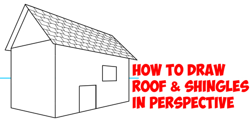 How to Draw a Roof and Shingles with Two Point Perspective - Easy Step by Step Drawing Tutorial