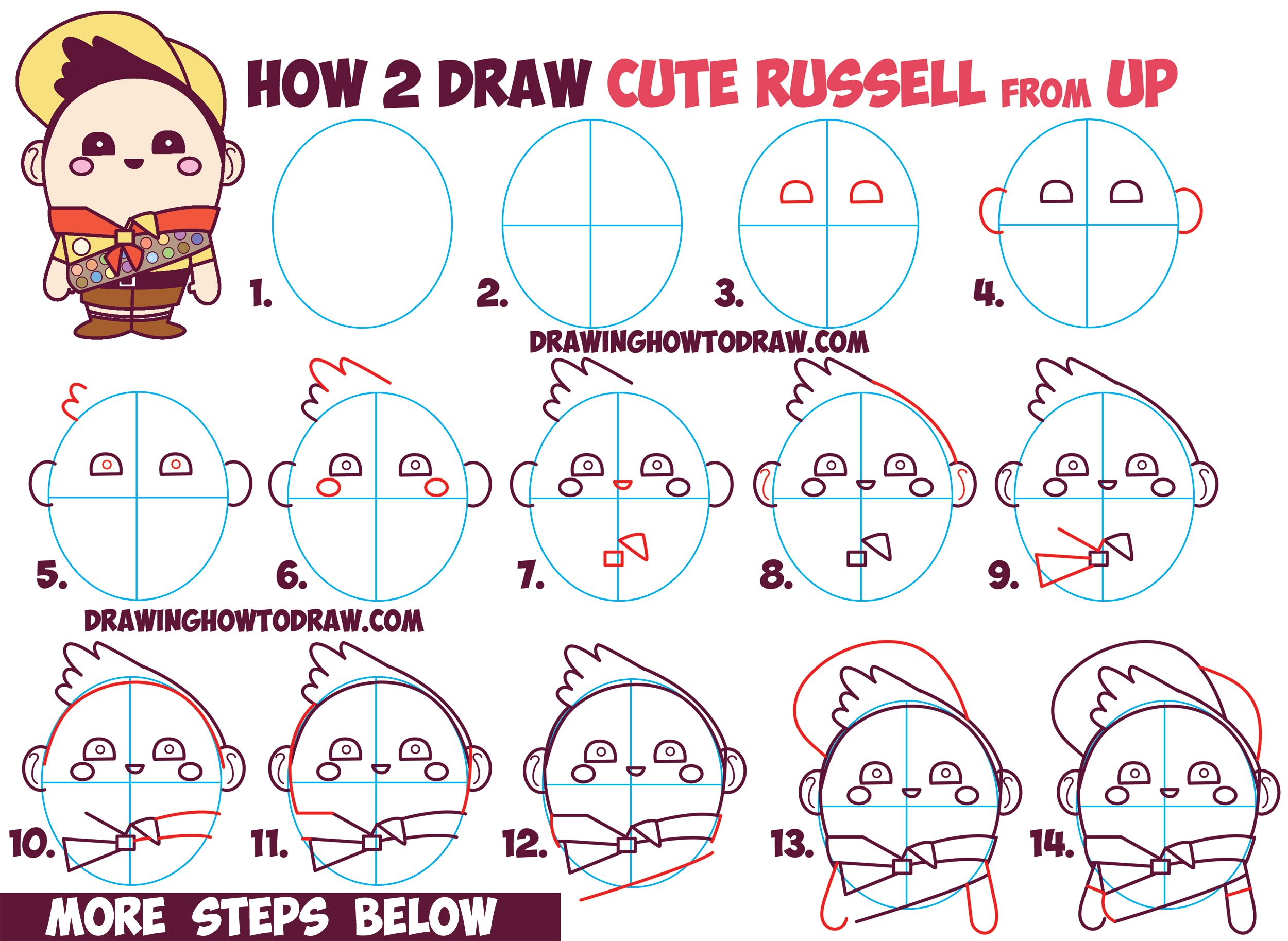How to Draw Russell the Boy from Disney Pixar's Up - Cute / Chibi / Kawaii Style Drawing Tutorial
