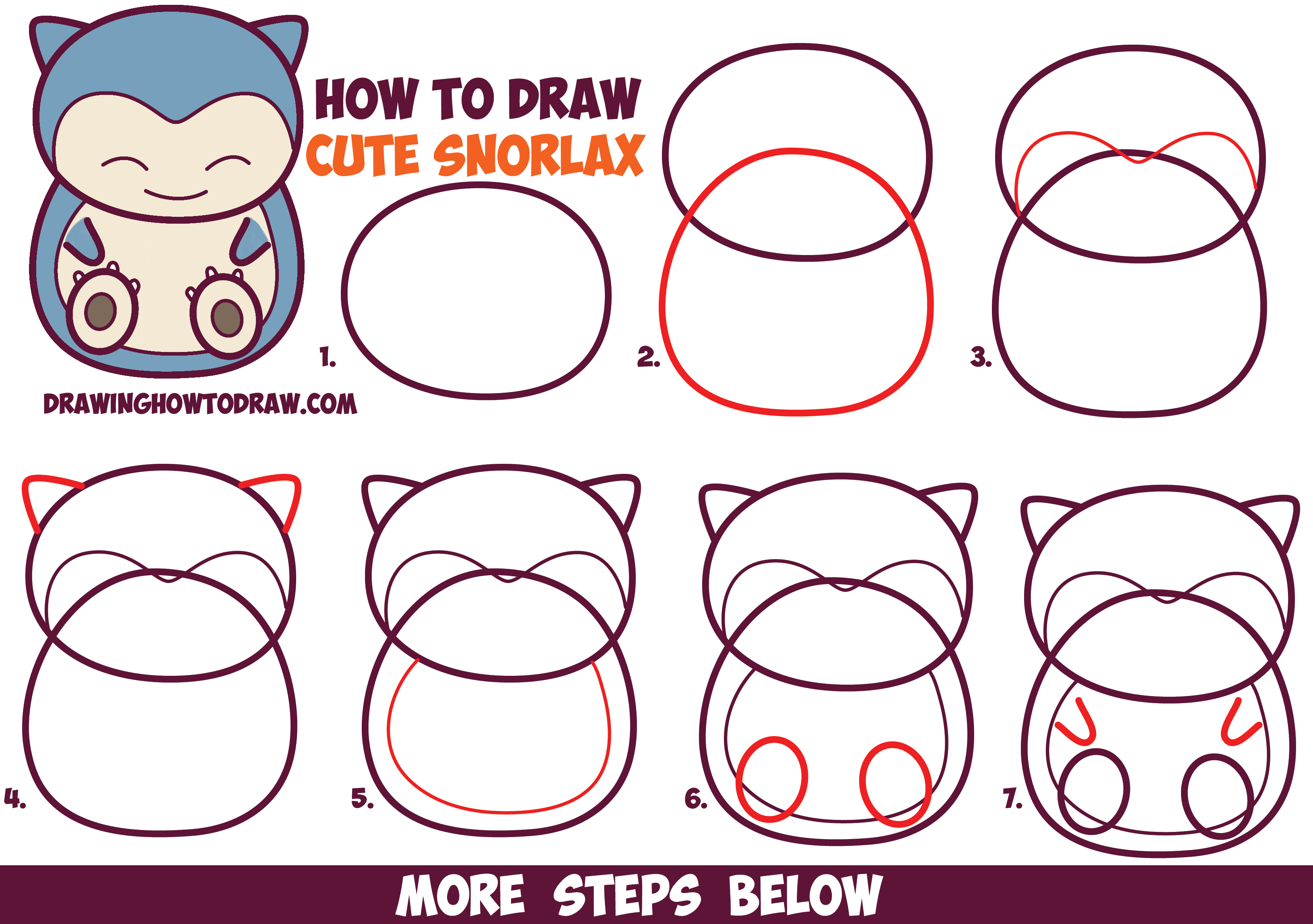 How to Draw Cute Snorlax (Chibi / Kawaii) from Pokemon in Easy Step by Step Drawing Tutorial for Kids