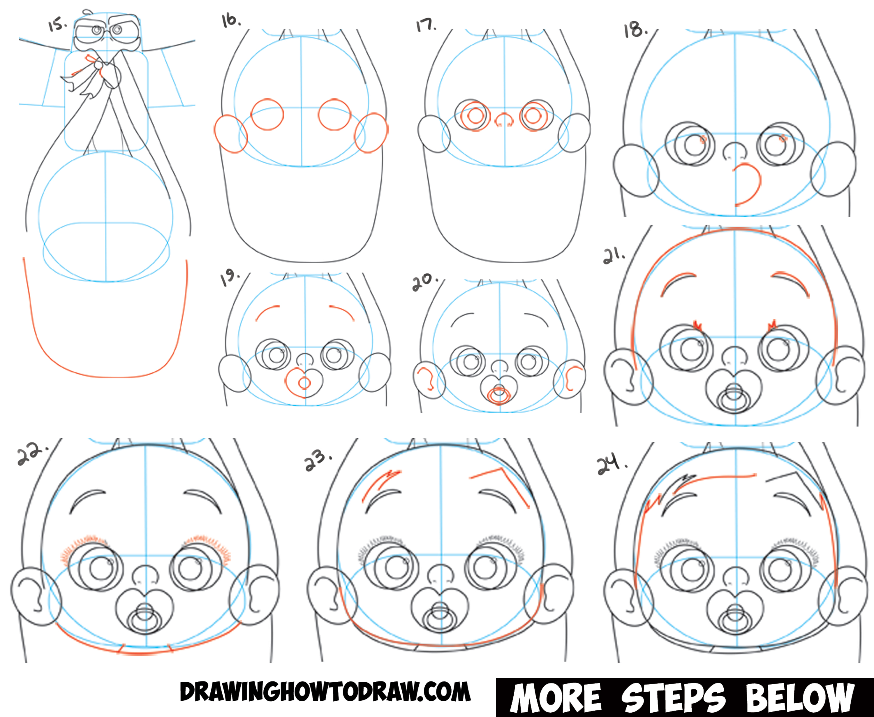 Learn How to Draw The Baby with Pink Hair and the Stork Junior from Storks, the Movie - Simple Steps Drawing Lesson