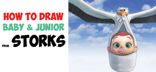 How to Draw The Baby and the Stork Junior from Storks, the Movie - Easy Step by Step Drawing Tutorial