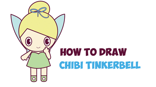 How to Draw Chibi Tinkerbell - the Disney Fairy in Easy Step by Step Drawing Tutorial for Kids