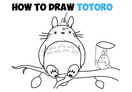 Learn How to Draw Totoro from My Neighbor Totoro - Simple Steps Drawing Lesson including Totoro, Small Totoro, and Medium Totoro