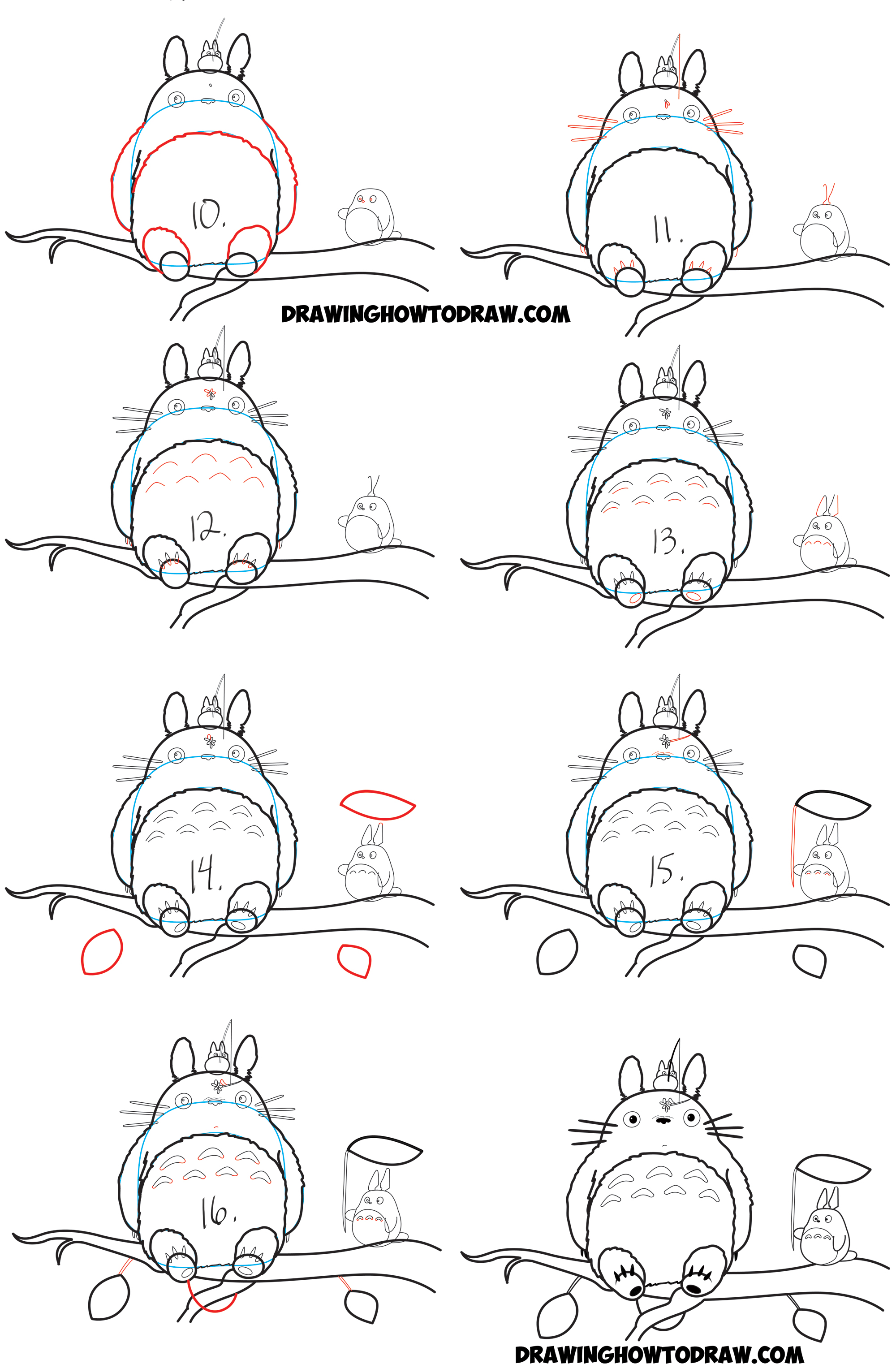 How to draw totoro from my neighbor totoro easy step by for Learn drawing online step by step
