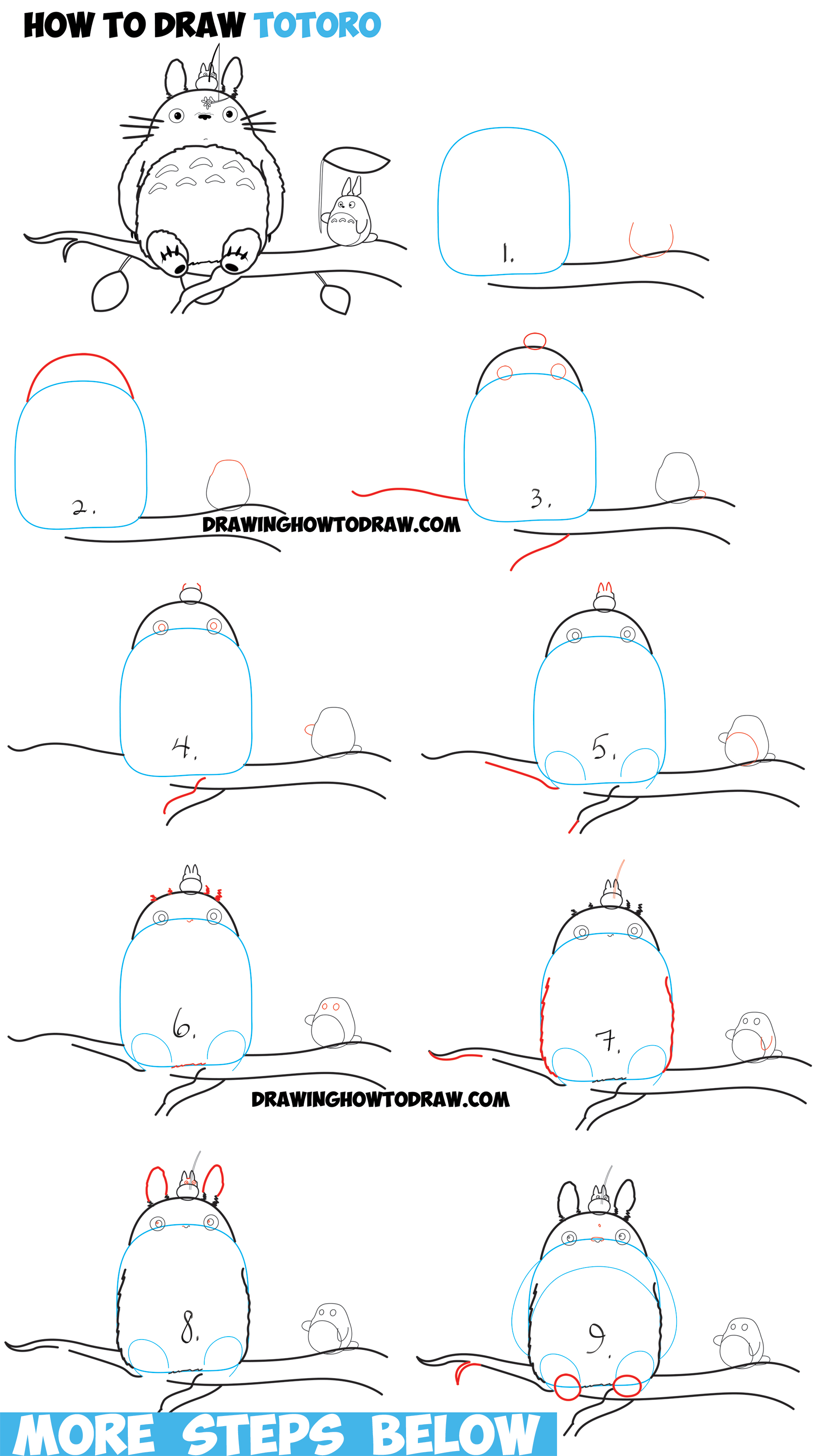 How to Draw Totoro with Small and Medium Totoro - Easy Step by Step Drawing Tutorial