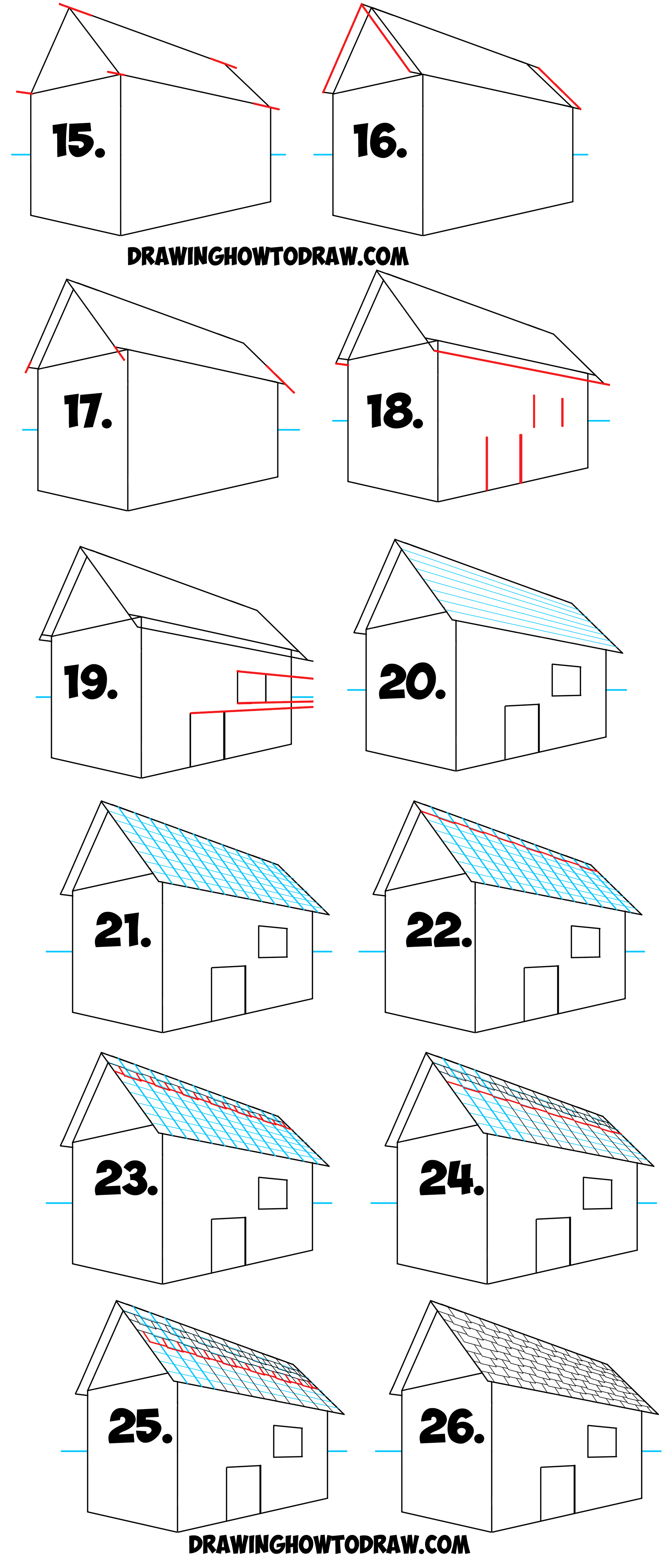 Learn How to Draw a Roof and Shingles with 2 Point Perspective - Simple Steps Drawing Lesson