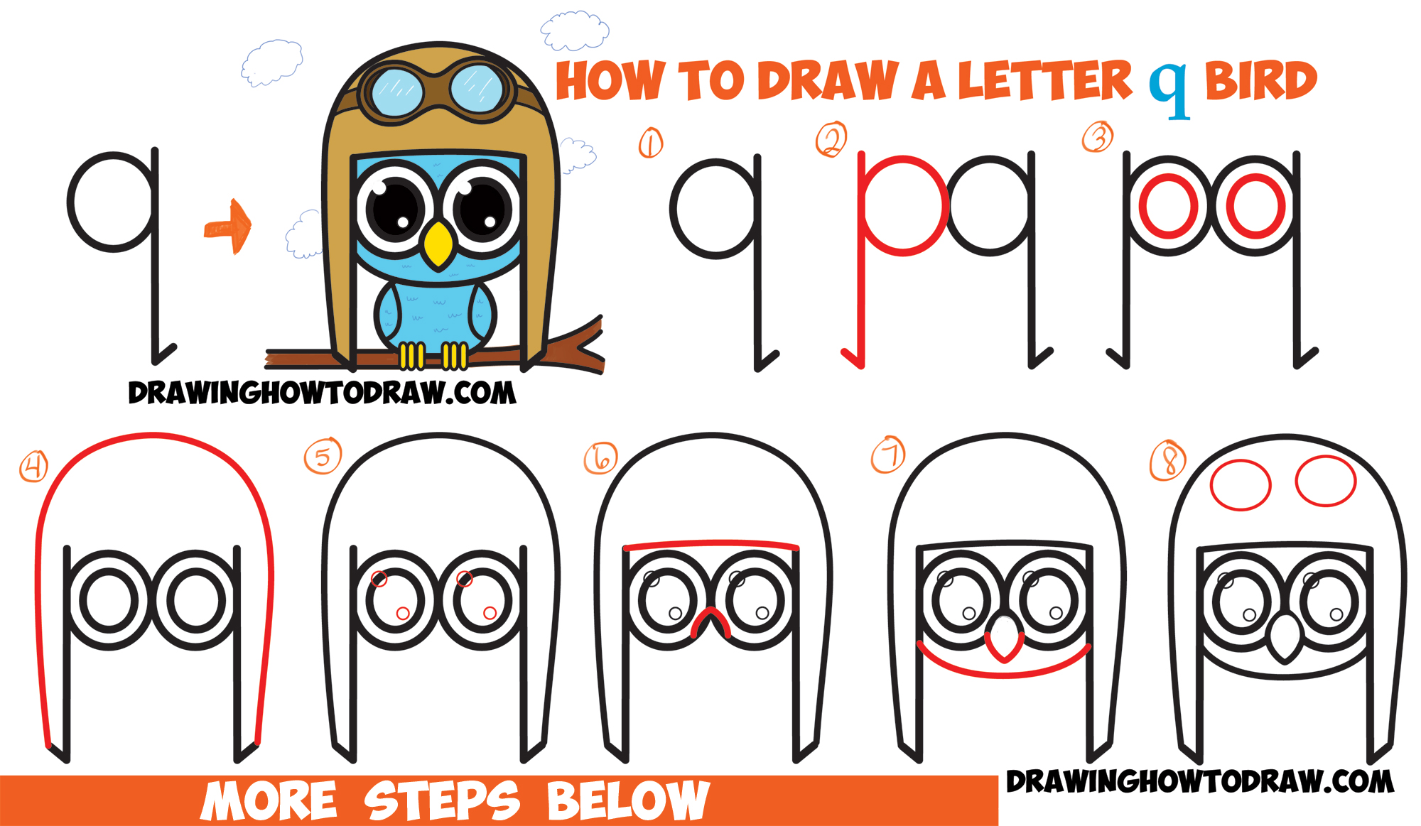 How to Draw Cartoon Birds / Owls from Lowercase Letter q - Easy Tutorial for Kids
