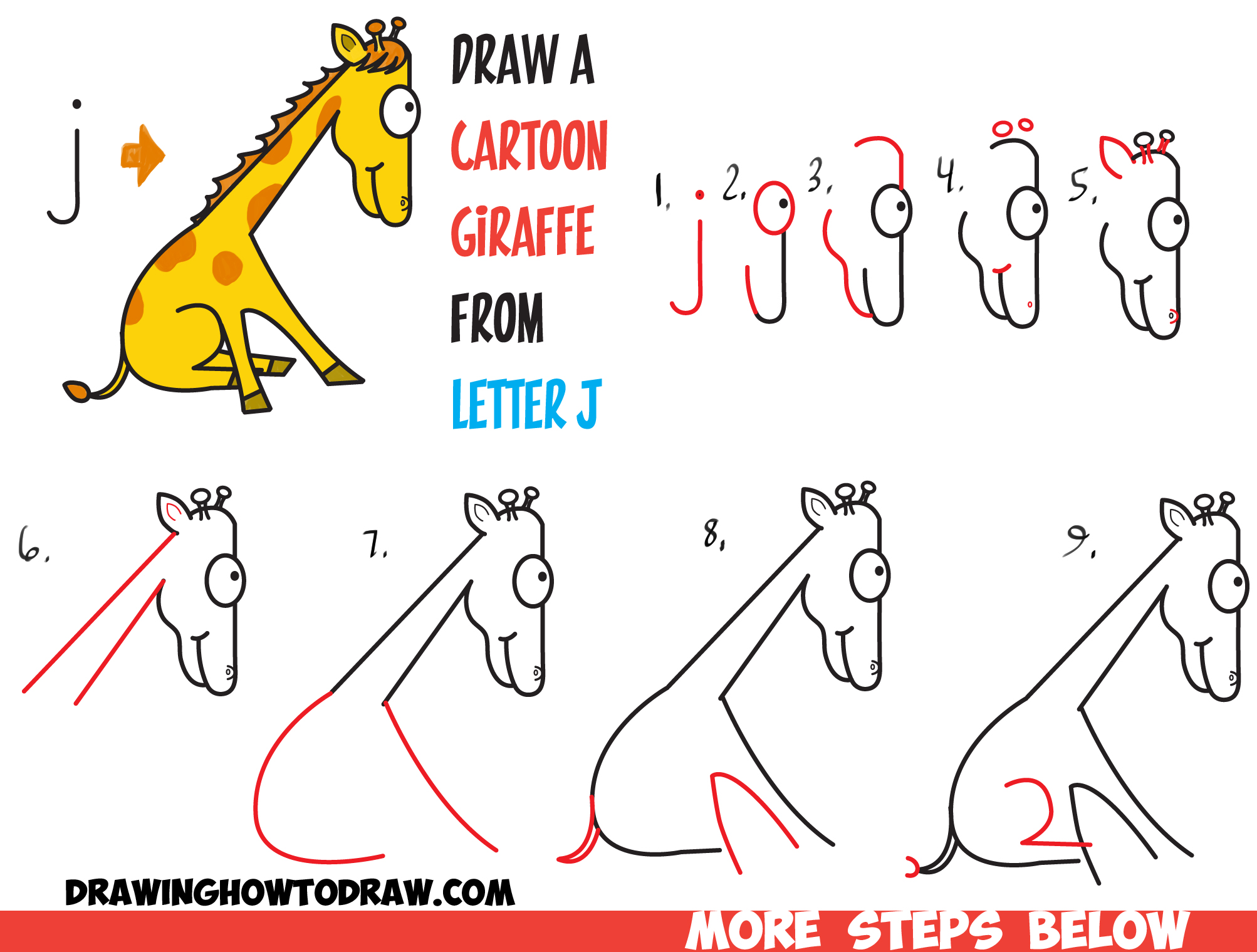 How to Draw a Cartoon Giraffe from Lowercase Letter j Shape in Easy Steps for Kids