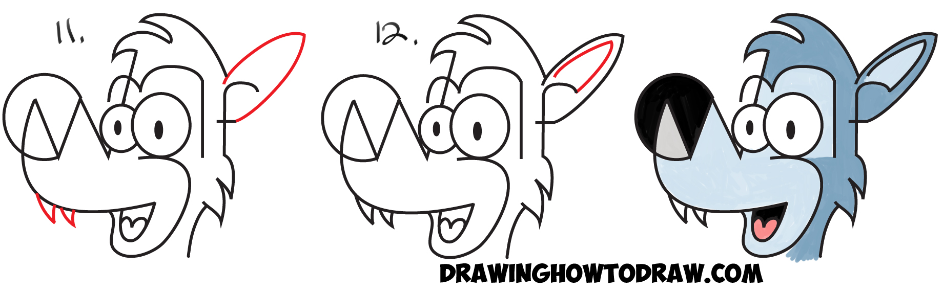 How to Draw Cartoon Wolves from the Word Wolf Easy Steps Drawing Tutorial