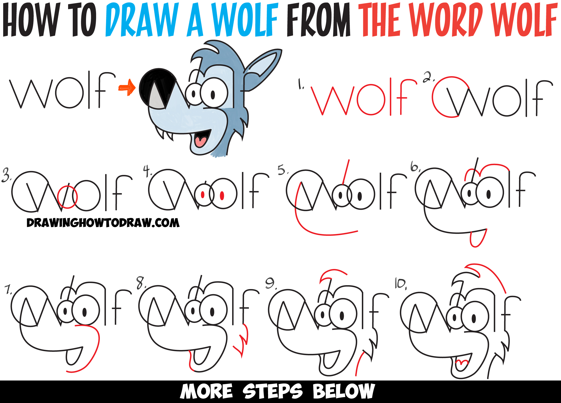 how to draw cartoon wolves from the word wolf easy steps drawing