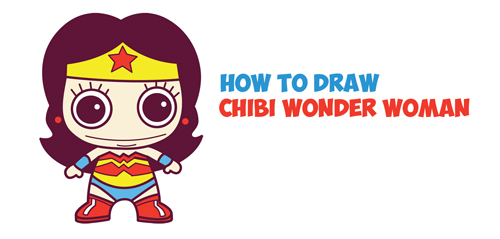 How To Draw Cute Chibi Wonder Woman From Dc Comics In Easy Step By
