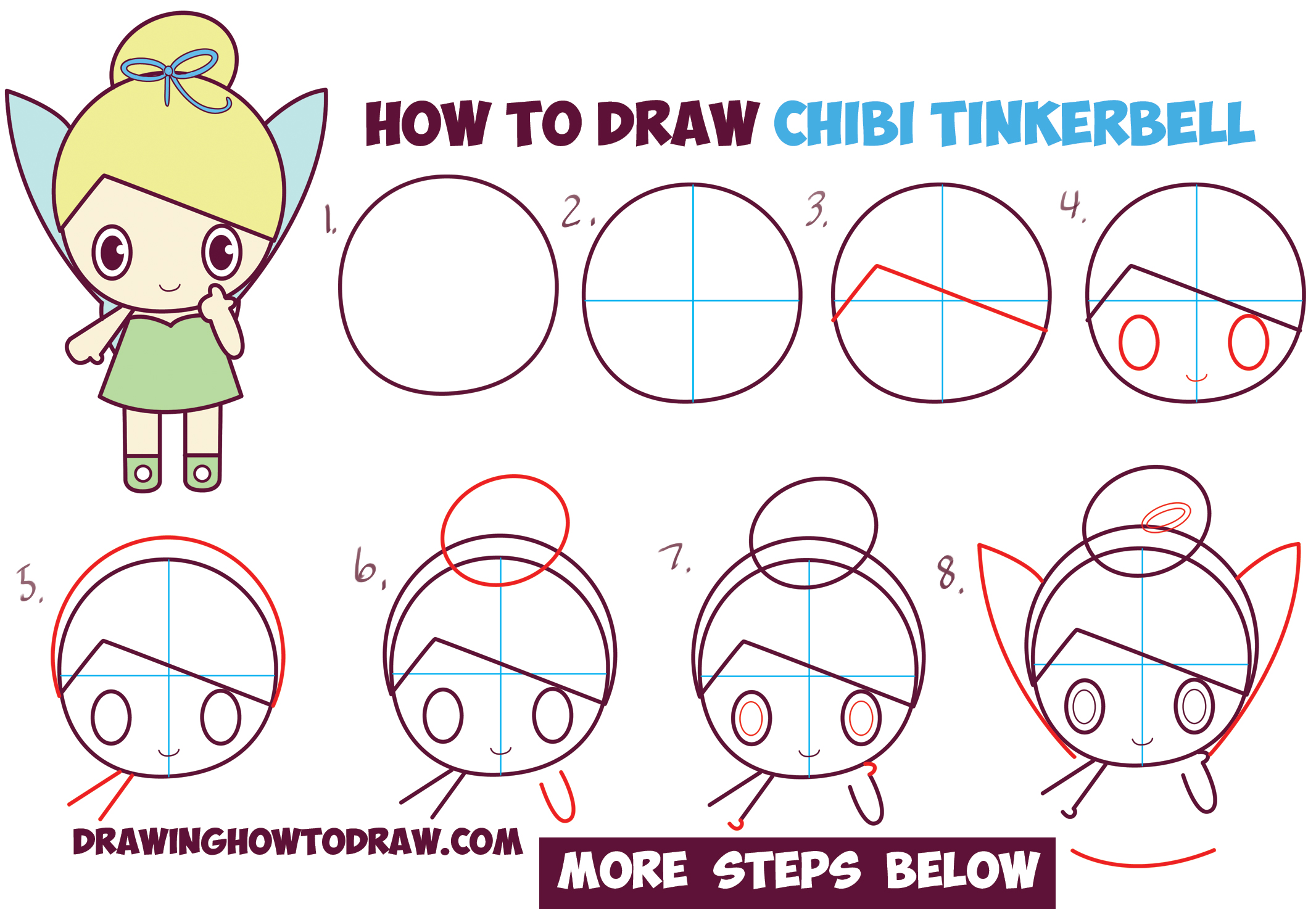 how to draw chibi tinkerbell the disney fairy in easy