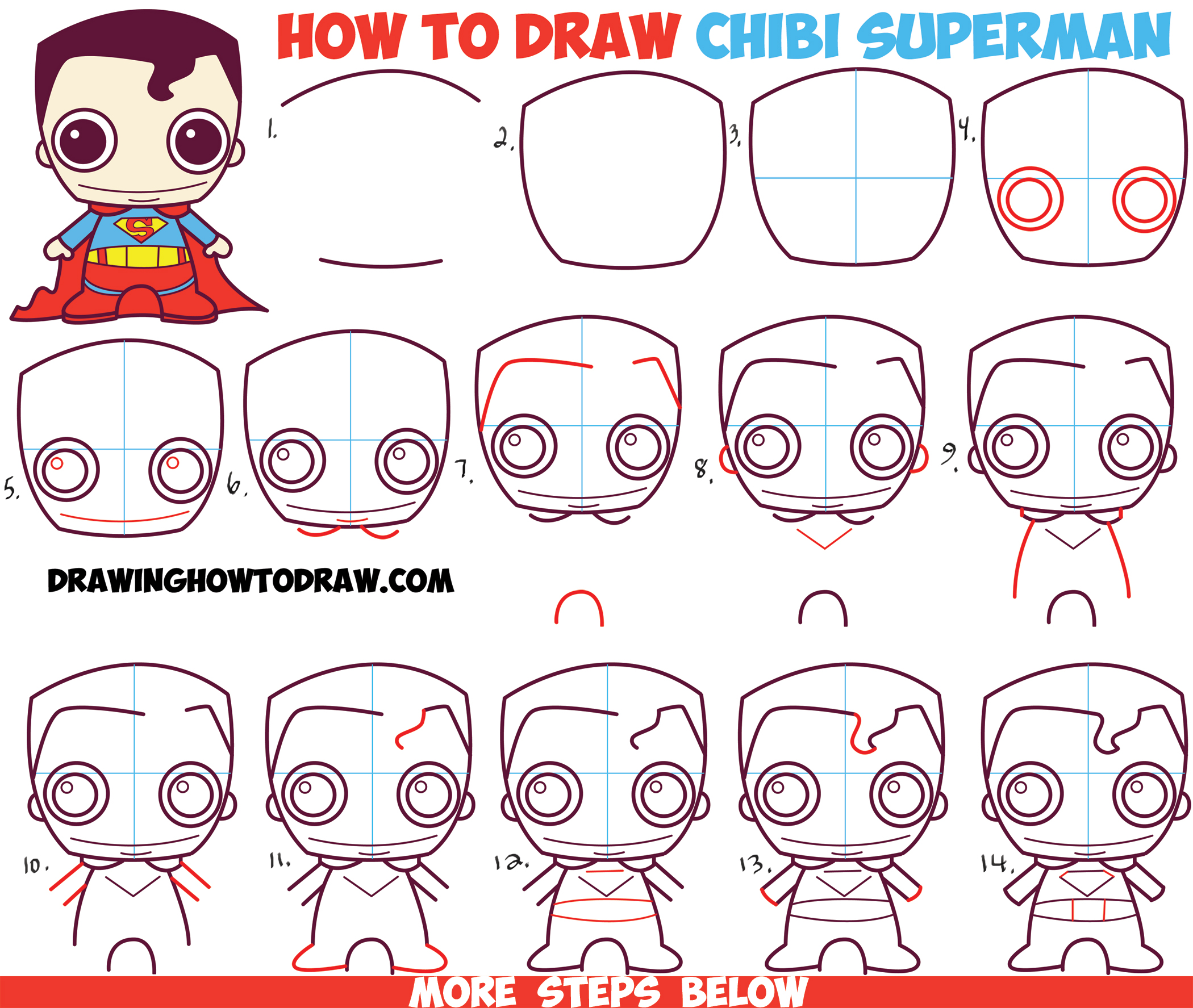 How to Draw Cute Chibi Superman from DC Comics in Easy Step by Step Drawing Tutorial for Kids