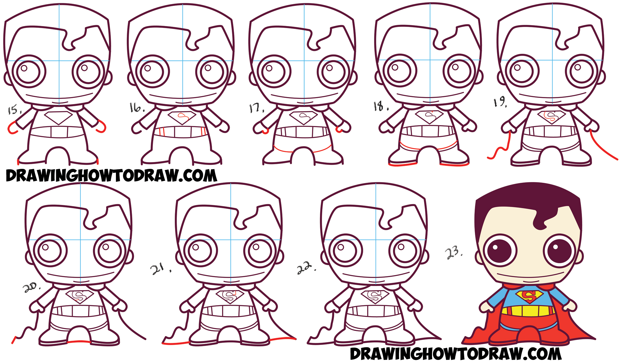 Learn How to Draw Cute Chibi Baby Kawaii Superman from DC Comics in Simple Steps Drawing Lesson for Kids