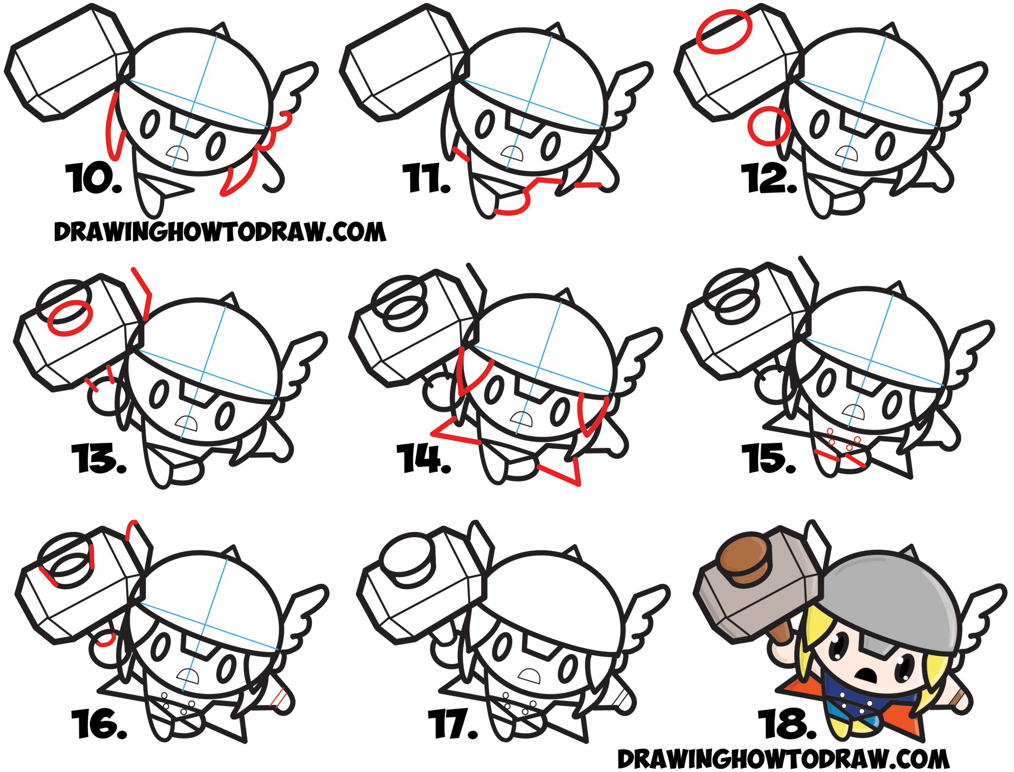 Learn How to Draw Cute Chibi Kawaii Thor from Marvel Comics in Simple Step by Step Art Lesson for Kids