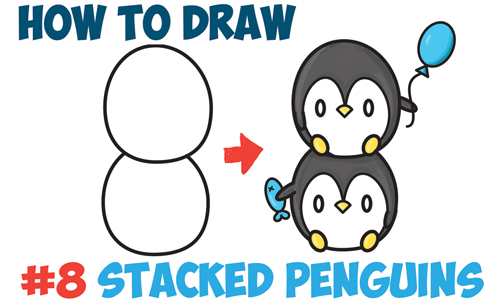 How to Draw Cute Kawaii Penguins Stacked from #8 with Easy Step by Step Drawing Tutorial for Kids and Beginners