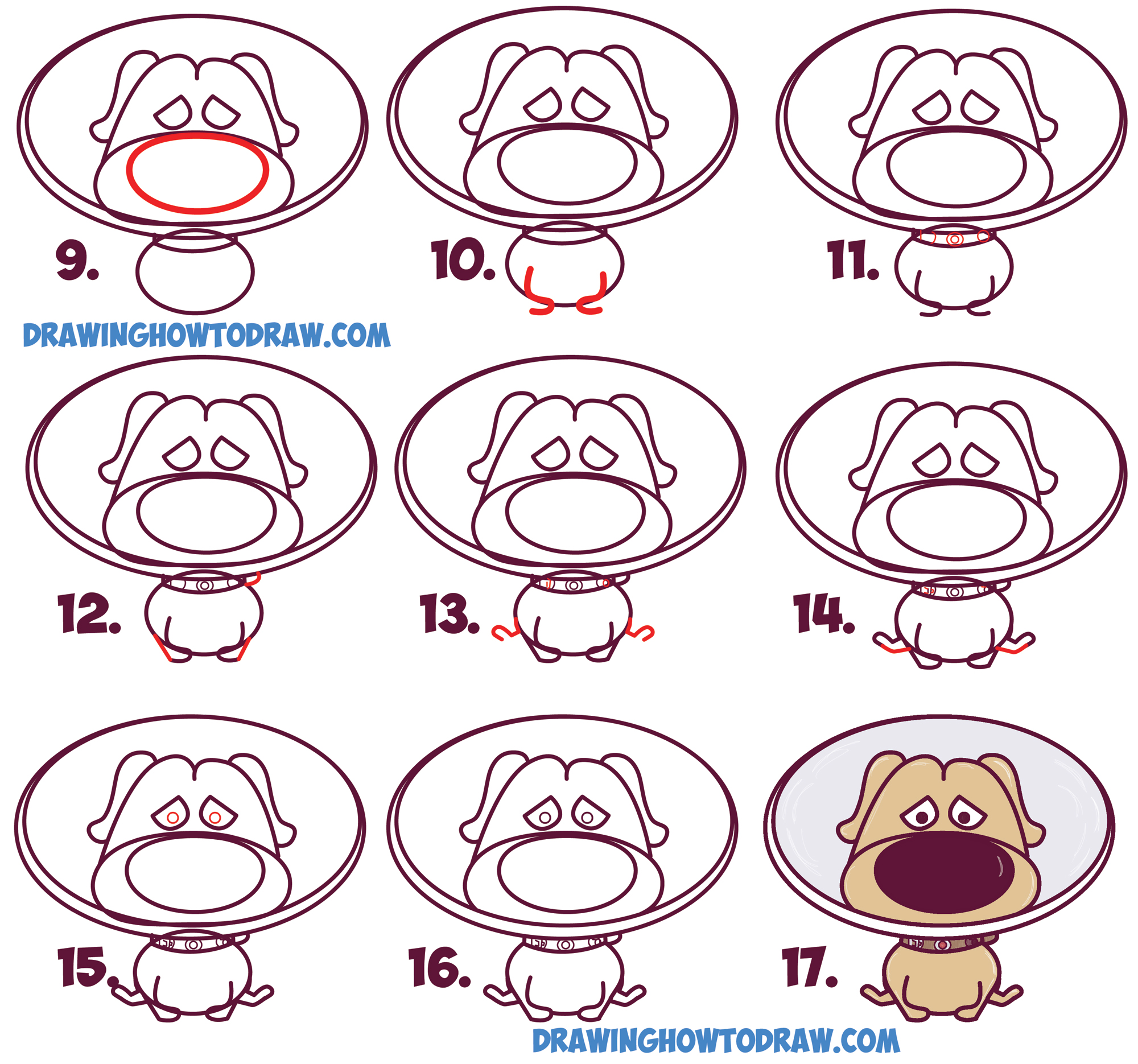 Learn How to Draw Dug (Cute / Kawaii / Chibi) from Up in Simple Steps Drawing Lesson for Kids