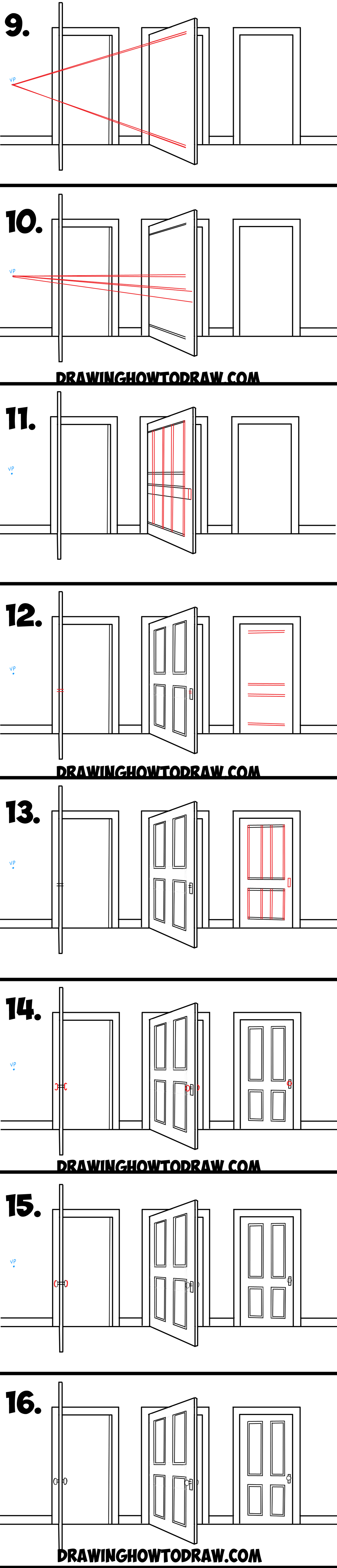 Open door drawing perspective - Learn How To Draw Open Closed And Opening Doors In 2 Point Perspective Simple