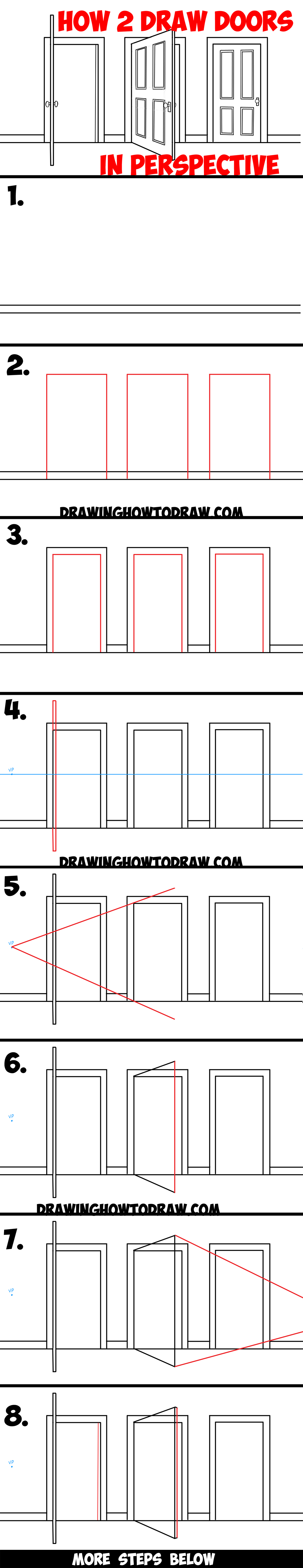 Open door drawing perspective - How To Draw Doors Opened Closed In Two Point Perspective Easy Step