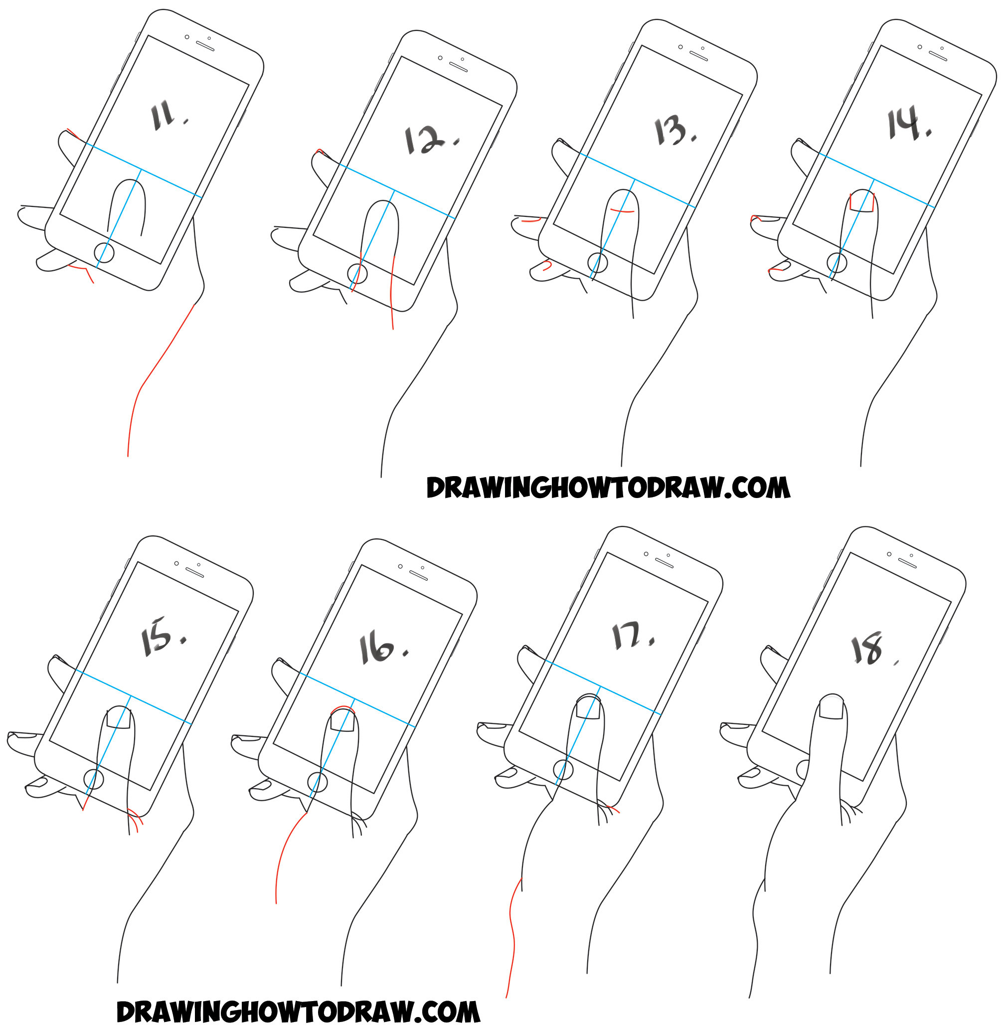 Learn how to draw iphones smart phones being held by a hand simple steps
