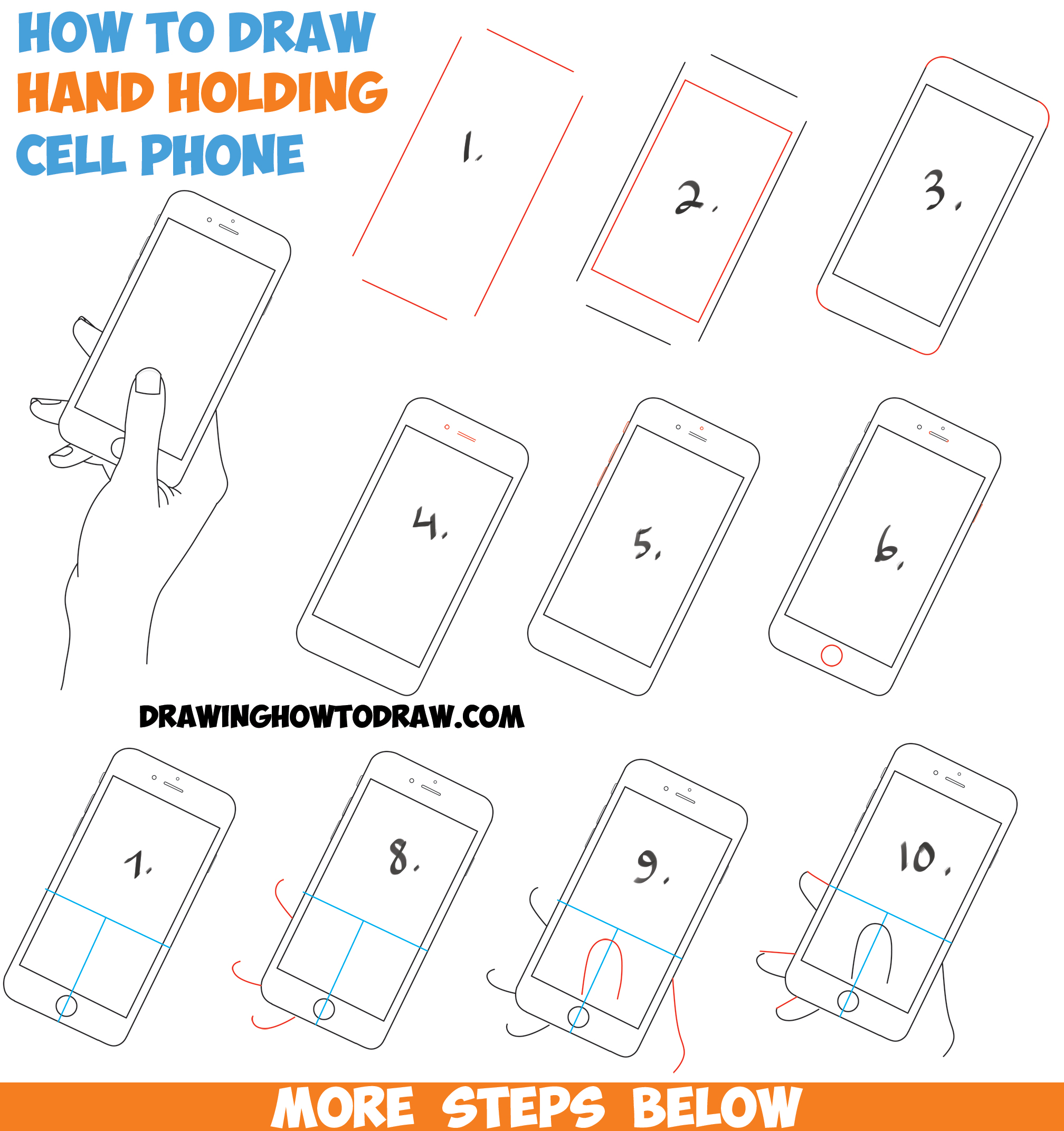 How to Draw a Hand Holding a Cell Phone / iPhone in Easy Step by Step Drawing Tutorial