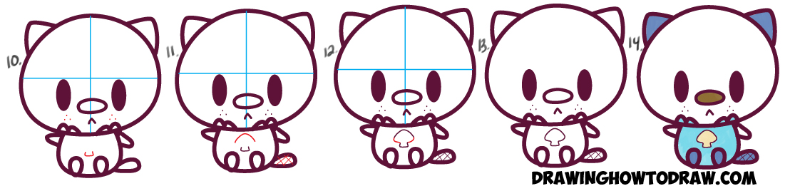 Learn How to Draw Baby Kawaii Chibi Oshawott from Pokemon in Simple Steps Drawing Lesson