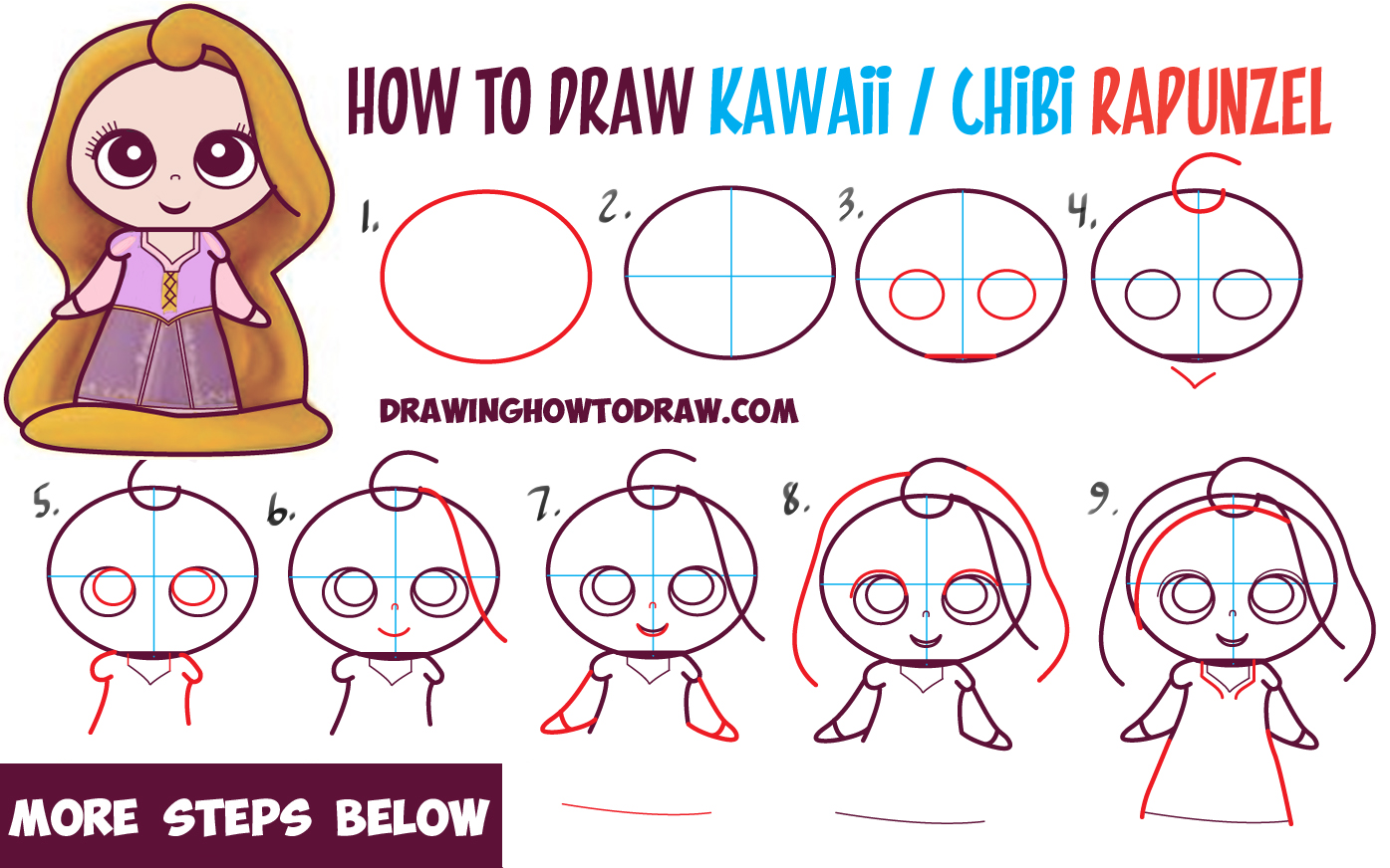 How To Draw Kawaii Chibi Rapunzel From Disney's Tangled In