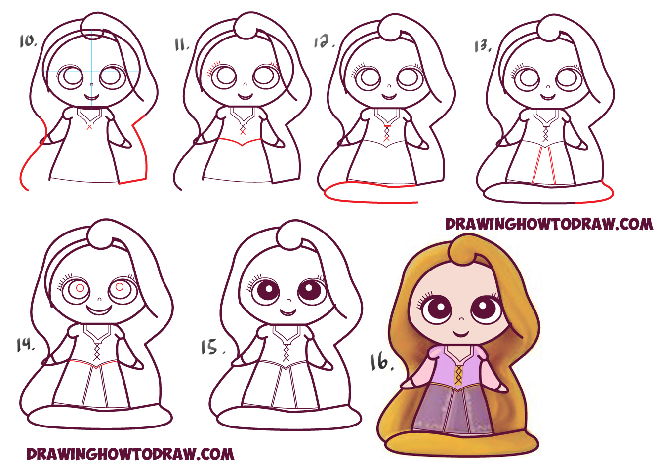 ... to Draw Kawaii Chibi Rapunzel from Disney's Tangled in Easy Steps