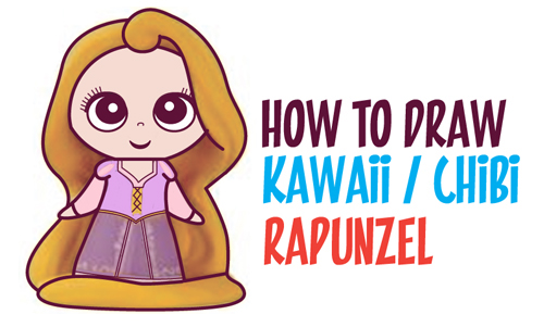 Learn How to Draw Kawaii Chibi Rapunzel from Disney's Tangled in Simple Steps Drawing Lesson