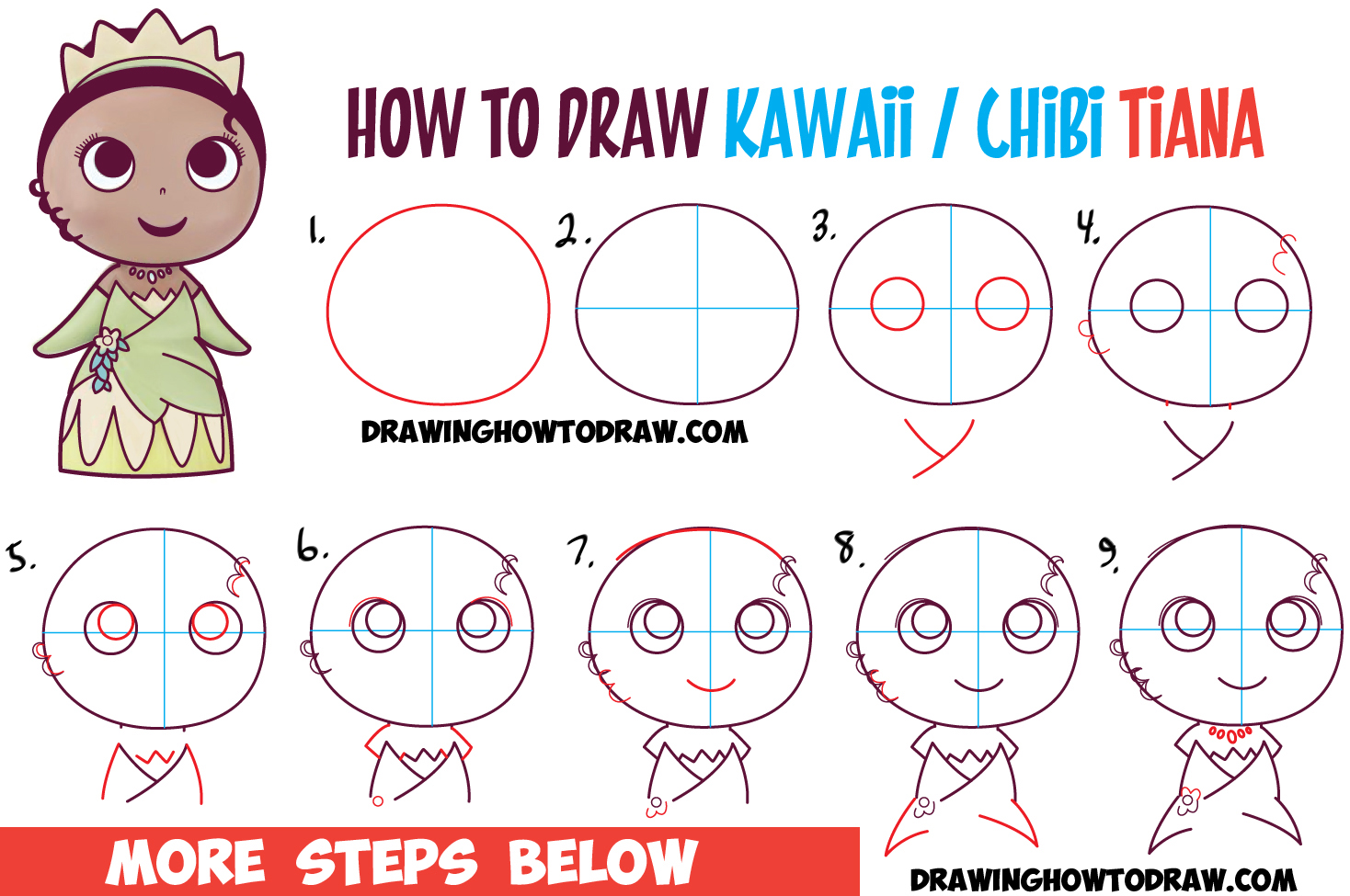 How to Draw Cute Baby Chibi Kawaii Tiana the Disney Princess Easy Step by Step Drawing Tutorial