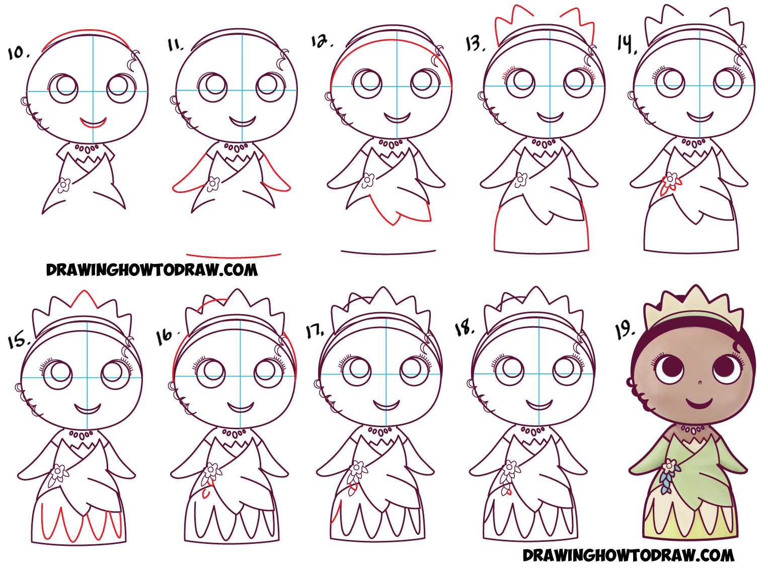 Learn How To Draw Cute Baby Chibi Kawaii Tiana The Disney Princess Simple  Steps Drawing Lesson