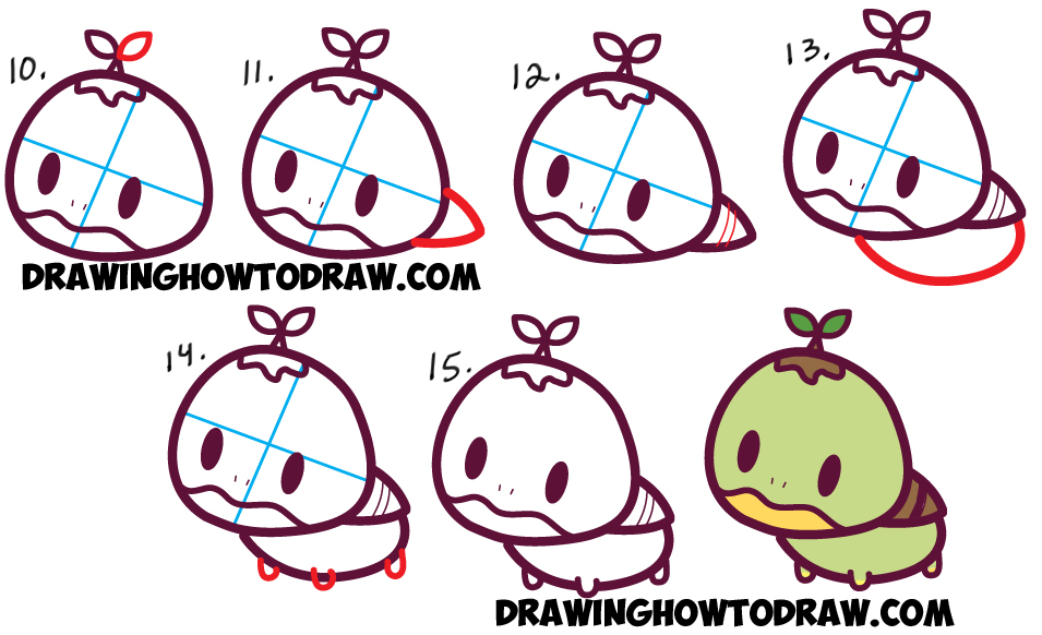 Learn How to Draw Cute Kawaii Chibi Turtwig from Pokemon and Pokemon Go - Easy Step by Step Drawing Lesson for Kids
