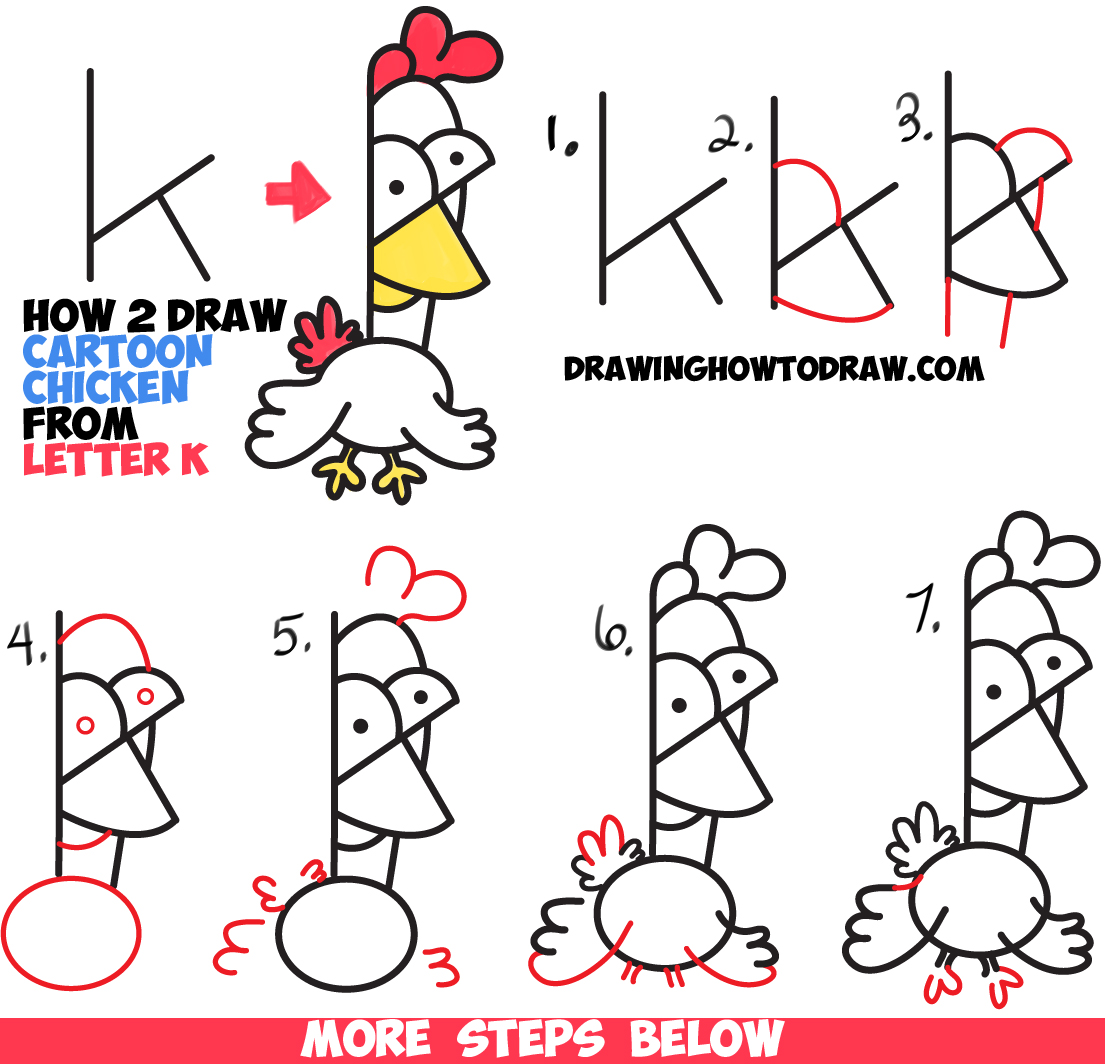 how to draw cartoon chickens roosters from lowercase letter k shape easy drawing tutorial