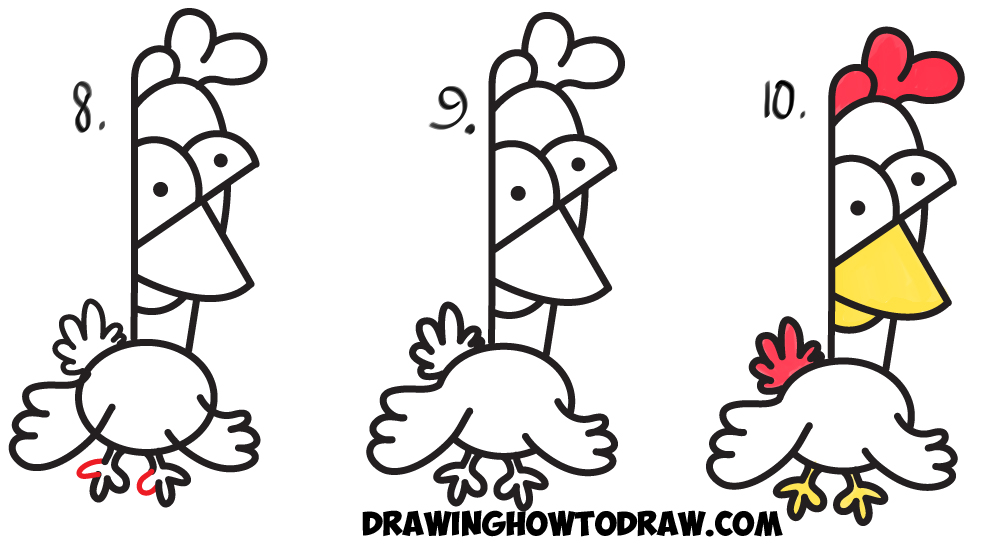 Learn How to Draw Cartoon Chickens / Roosters from Lowercase Letter K Shape - Simple Step Drawing Lesson for Kids