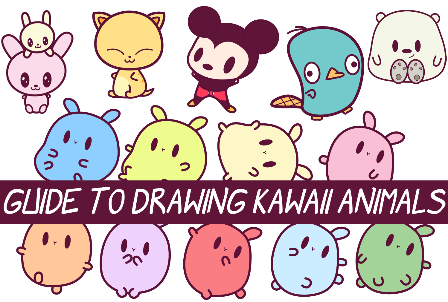 Image of: Baby Animals Easy Guide To Drawing Kawaii Characters Part How To Draw Kawaii Animals Critters Expressions Faces Body Poses Drawing How To Draw Easy Guide To Drawing Kawaii Characters Part How To Draw