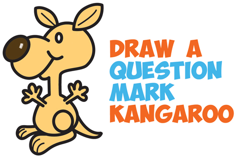 How to Draw a Cartoon Kangaroo from a Question Mark Shape - Easy Step by Step Drawing Tutorial for Kids
