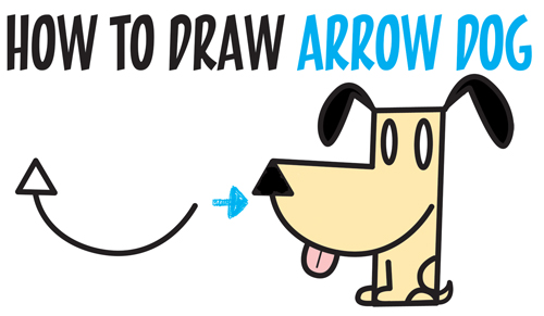 How to Draw a Cartoon Dog from an Arrow Shape - Easy Step by Step Drawing Tutorial