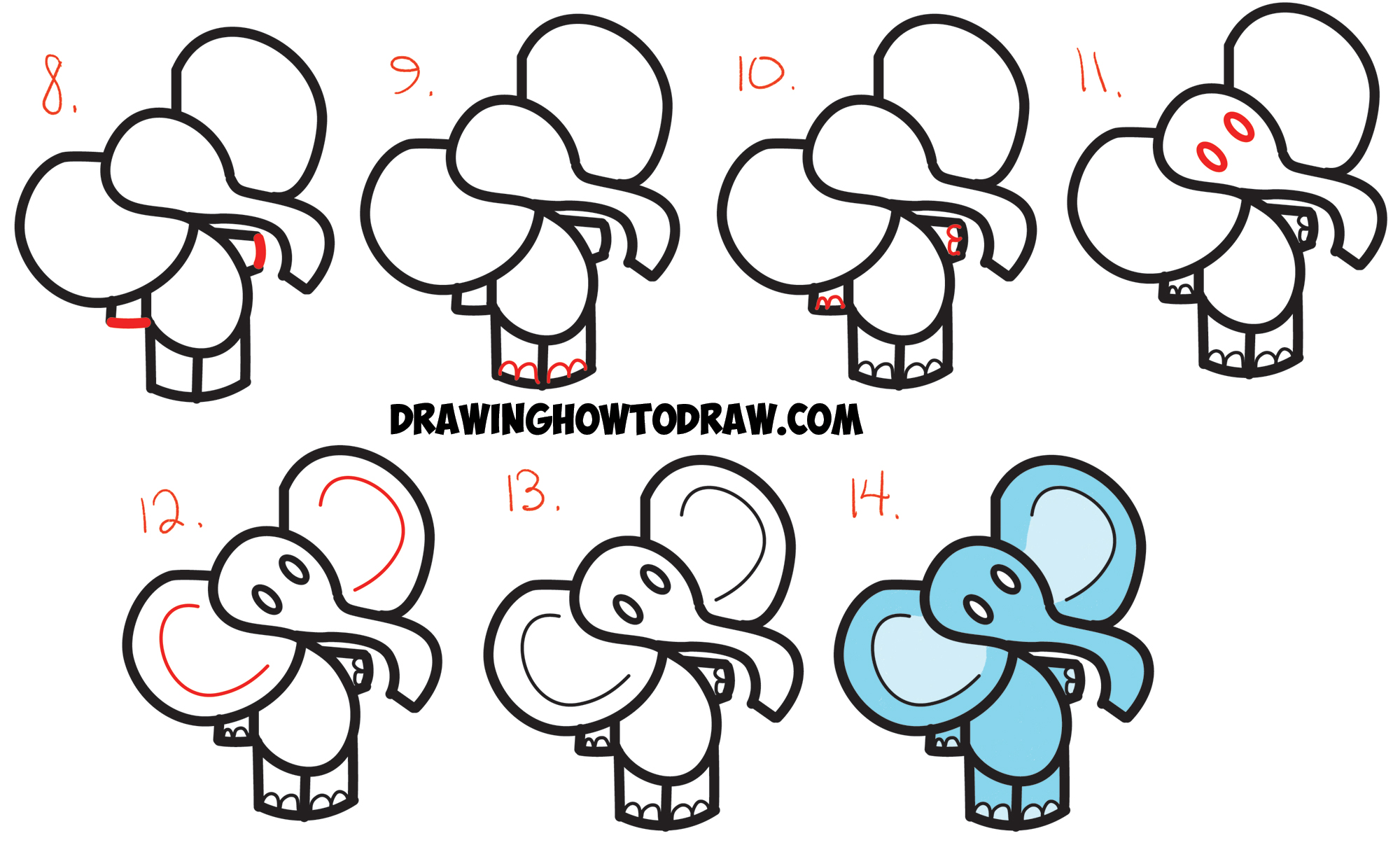 How to Draw Cartoon Elephant from the Dollar Sign  Easy Step by