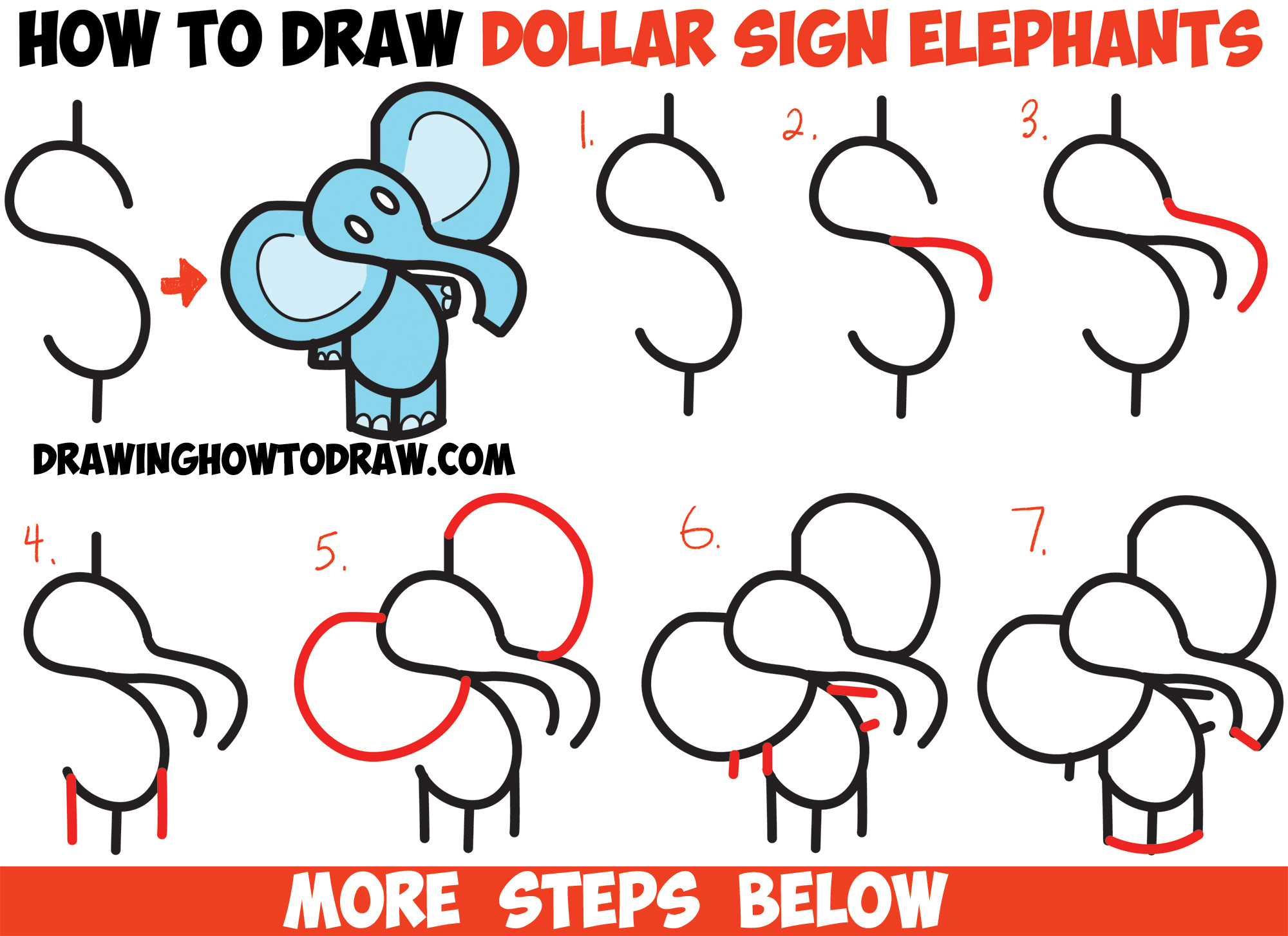 How to draw cartoon elephant from the dollar sign easy for Things to draw for beginners step by step