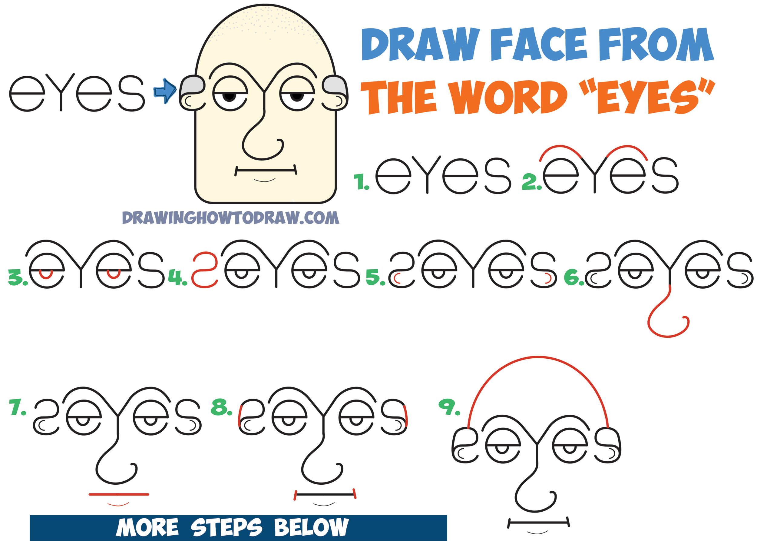 How To Draw Old Man S Face Head From The Word Eyes In Easy Step