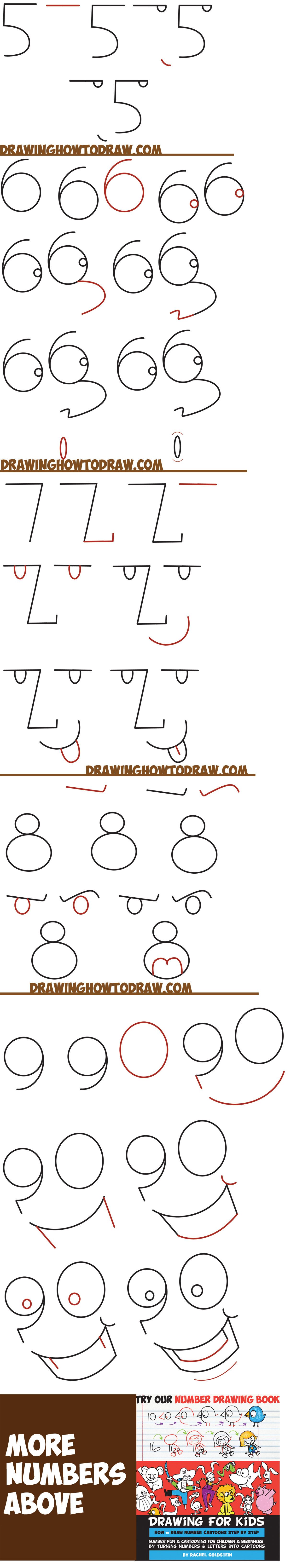 Learn How to Draw Cartoon Faces from Numbers 1 - 9 Shapes in Simple Steps Drawing Lesson for Kids and Beginners