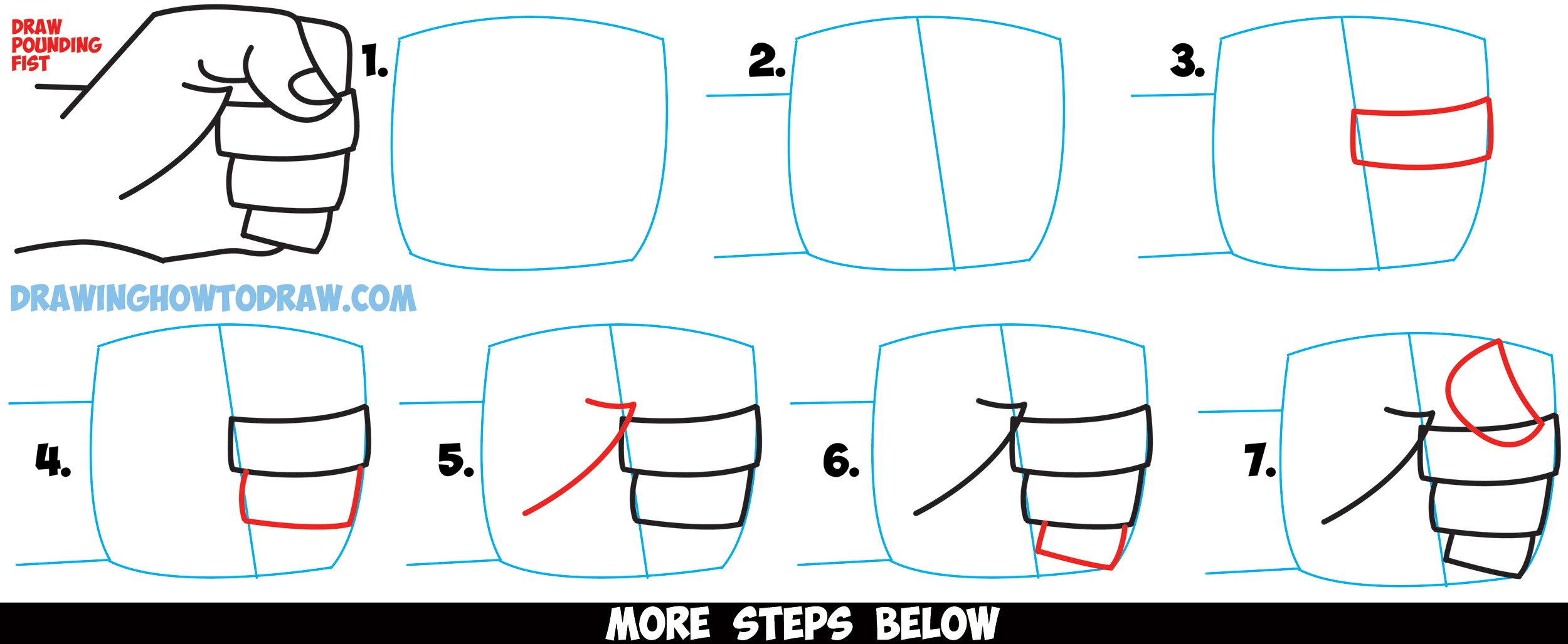 How to draw fists side view clenched drawing cartoon for How to make cartoon drawings step by step