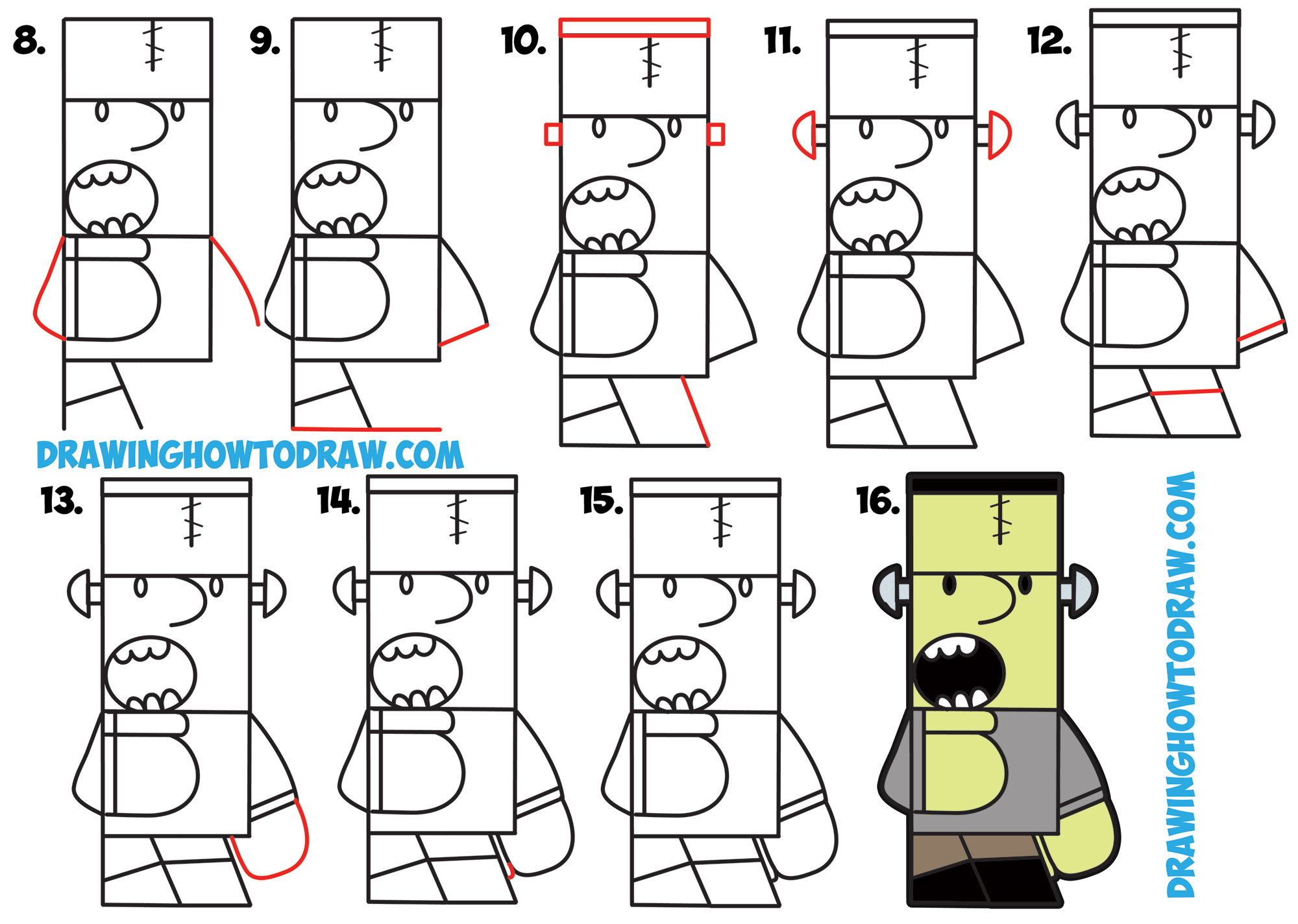 "Learn How to Draw Cartoon Frankenstein's Monster from ""Frank"" Word Toons Simple Steps Drawing Art Lesson for Kids"