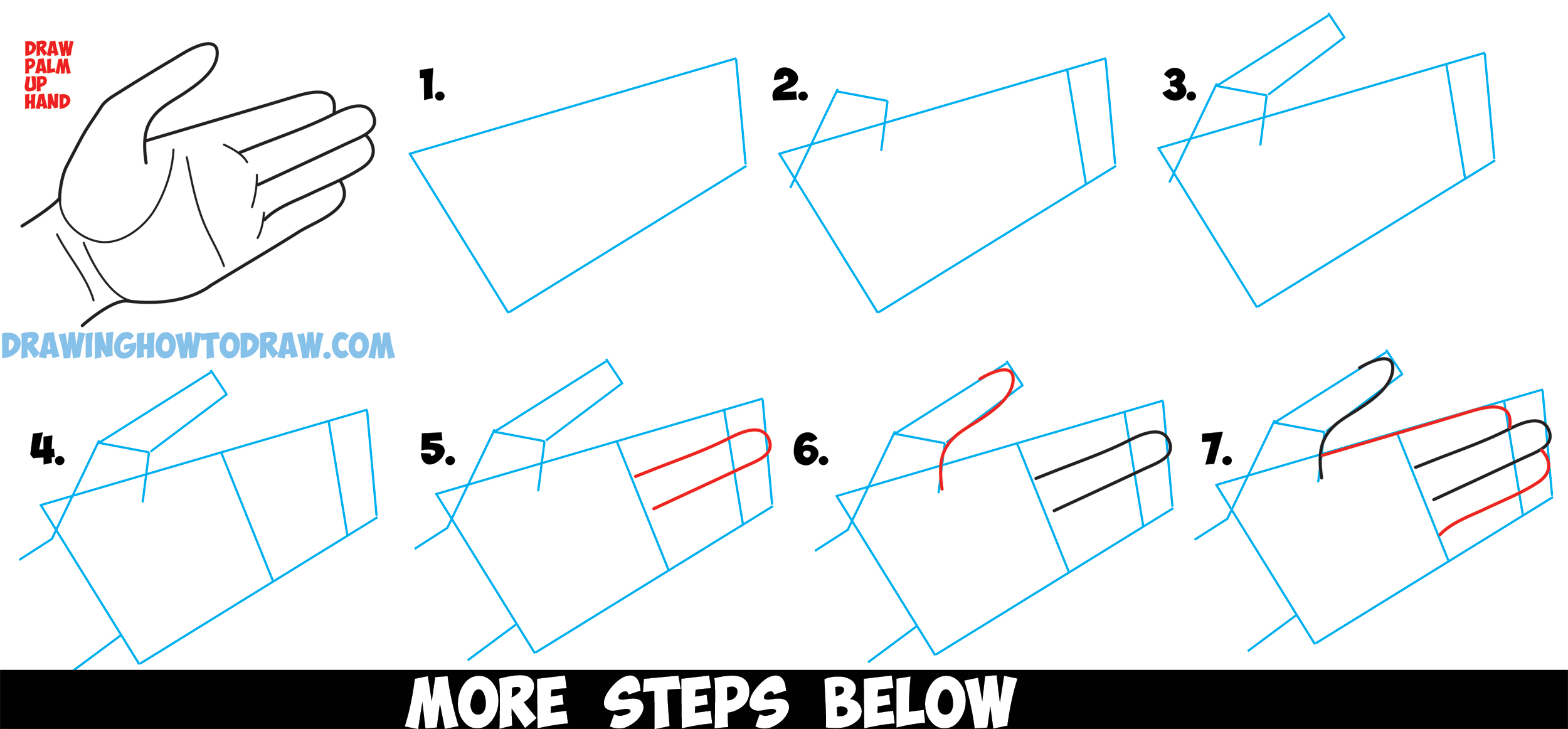 How to Draw Hands Open Palm - Drawing Cartoon Open Palmed Hands - Easy Steps Drawing Lesson for Beginners