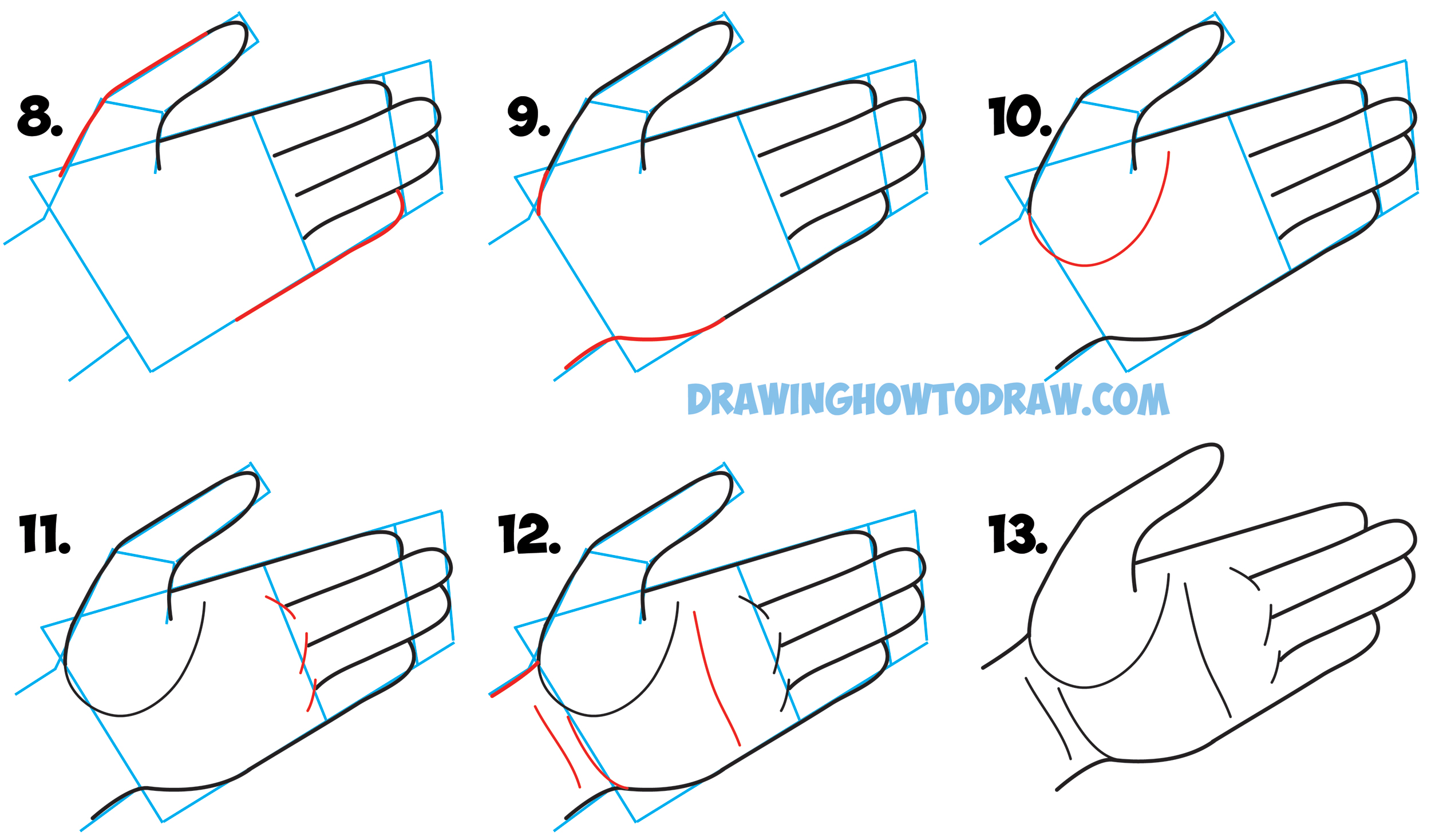 Learn how to draw cartoon hands open palm drawing open palmed hands simple step