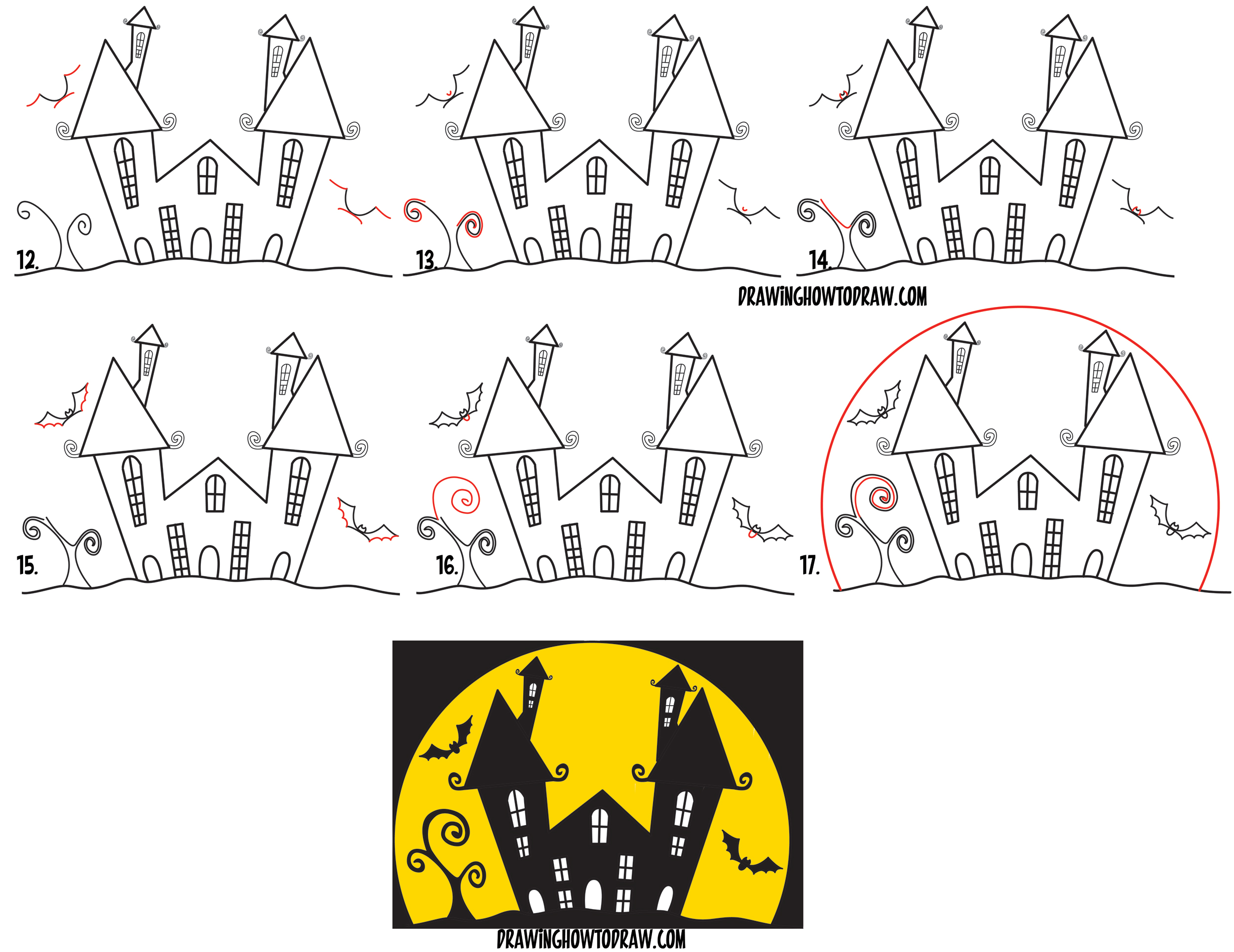 Learn How to Draw a Cartoon Haunted House Step by Step in Silhouette with Bats (from the Letter W) - Simple Steps for Kids for Halloween