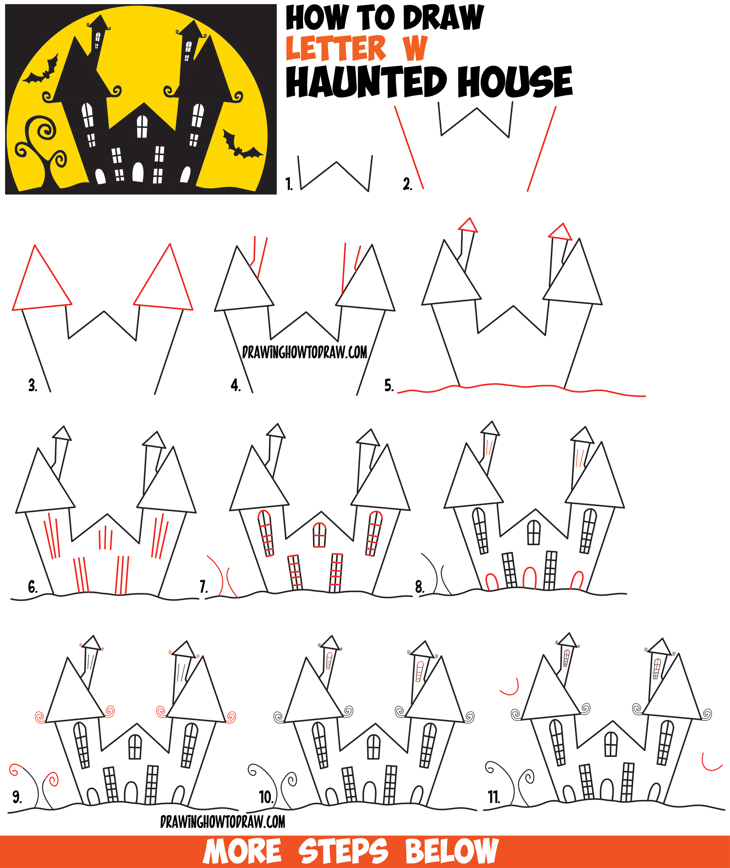 How to draw a cartoon haunted house step by step in for How to make a house step by step